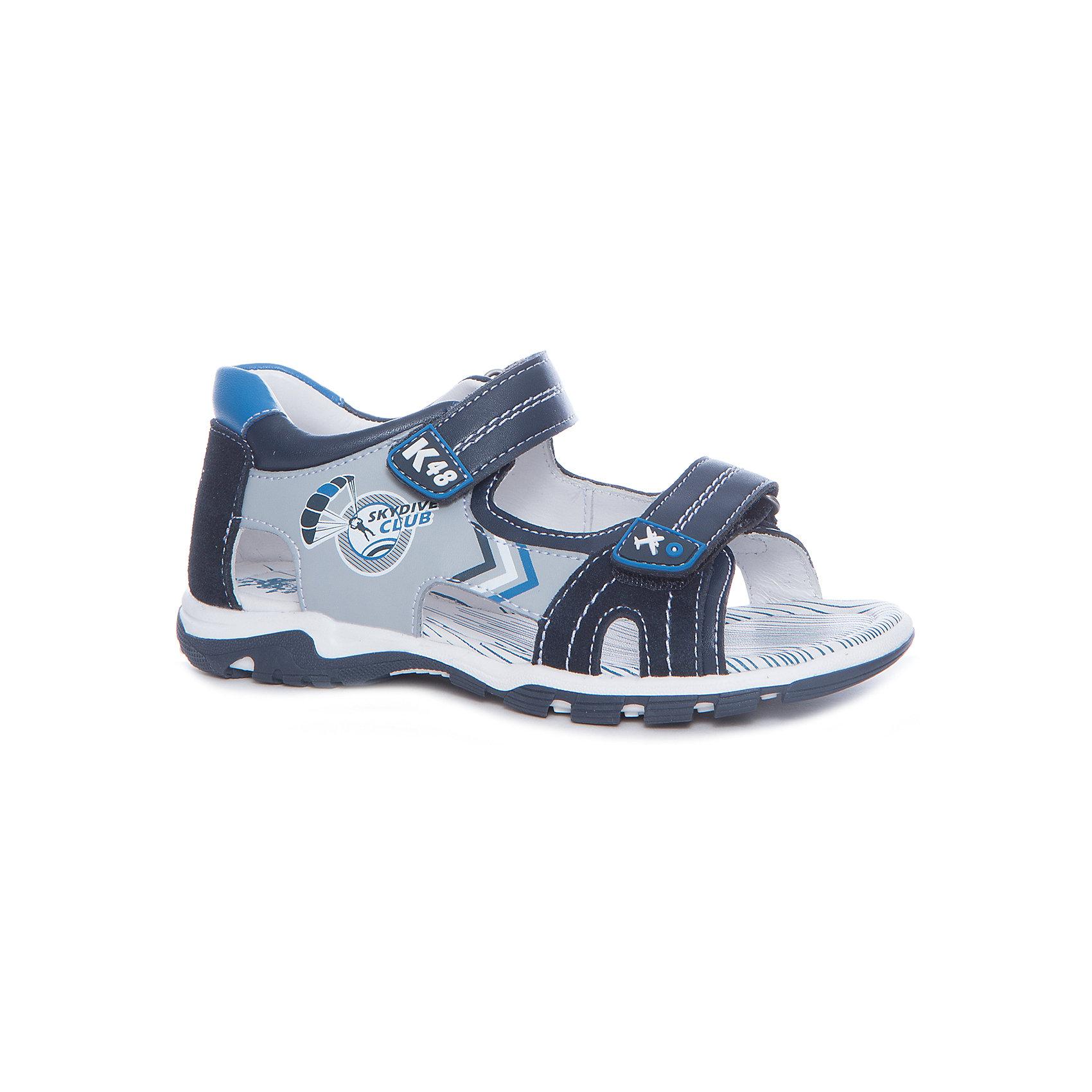 Сандалии для мальчика KAPIKA, синий, серыйСандалии<br>Характеристики товара:<br><br>• цвет: синий, серый<br>• тип сандалей: анатомические<br>• внешний материал обуви: натуральная кожа, экокожа<br>• внутренний материал: натуральная кожа<br>• стелька: натуральная кожа<br>• подошва: ТЭП<br>• с открытым мысом<br>• тип застежки: на липучке<br>• сезон: лето<br>• страна бренда: Россия<br>• страна изготовитель: Китай<br><br>Сандалии открытые для мальчика от российского бренда Kapika (Капика) можно купить в нашем интернет-магазине.<br><br>Ширина мм: 227<br>Глубина мм: 145<br>Высота мм: 124<br>Вес г: 325<br>Цвет: серый/синий<br>Возраст от месяцев: 72<br>Возраст до месяцев: 84<br>Пол: Мужской<br>Возраст: Детский<br>Размер: 30,33,32,31<br>SKU: 5323946