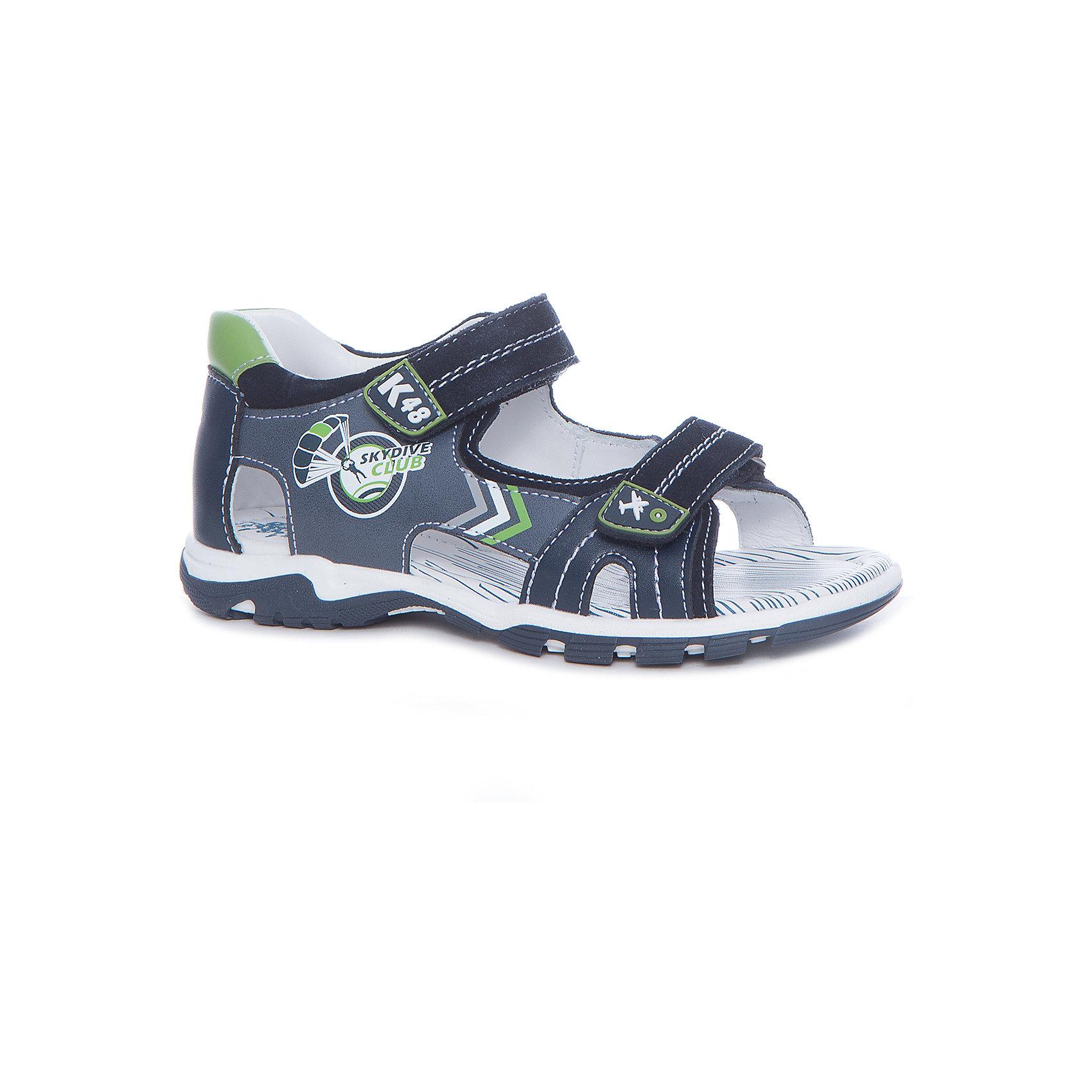 Сандалии для мальчика KAPIKA, синий, графитСандалии<br>Характеристики товара:<br><br>• цвет: синий, серый<br>• тип сандалей: анатомические<br>• внешний материал обуви: натуральная кожа, экокожа<br>• внутренний материал: натуральная кожа<br>• стелька: натуральная кожа<br>• подошва: ТЭП<br>• с открытым мысом<br>• тип застежки: на липучке<br>• сезон: лето<br>• страна бренда: Россия<br>• страна изготовитель: Китай<br><br>Сандалии открытые для мальчика от российского бренда Kapika (Капика) можно купить в нашем интернет-магазине.<br><br>Ширина мм: 227<br>Глубина мм: 145<br>Высота мм: 124<br>Вес г: 325<br>Цвет: синий<br>Возраст от месяцев: 108<br>Возраст до месяцев: 120<br>Пол: Мужской<br>Возраст: Детский<br>Размер: 33,30,31,32<br>SKU: 5323951