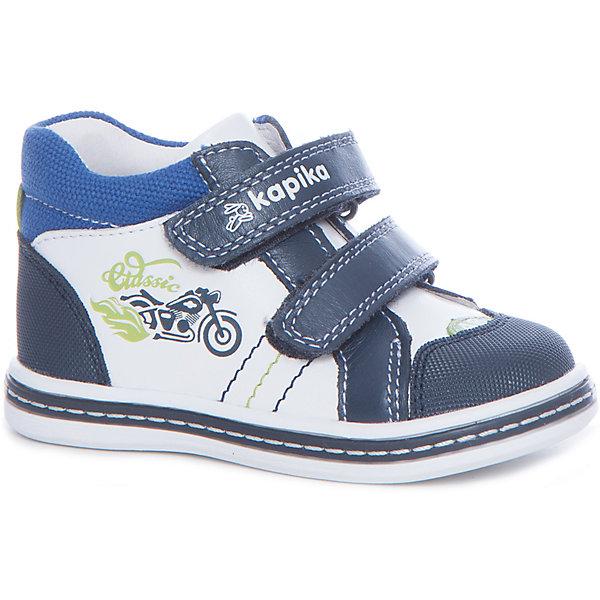 Ботинки  для мальчика KAPIKA, синий, белыйБотинки<br>Характеристики товара:<br><br>• цвет: синий, белый<br>• внешний материал обуви: натуральная кожа<br>• внутренний материал: натуральная кожа<br>• стелька: натуральная кожа<br>• подошва: ТЭП<br>• спортивный стиль<br>• тип застежки: на липучке<br>• сезон: весна-осень<br>• температурный режимот +10°до +20°С<br>• страна бренда: Россия<br>• страна изготовитель: Китай<br><br>Ботинки от российского бренда Kapika (Капика) можно купить в нашем интернет-магазине.<br><br>Ширина мм: 262<br>Глубина мм: 176<br>Высота мм: 97<br>Вес г: 427<br>Цвет: синий/белый<br>Возраст от месяцев: 21<br>Возраст до месяцев: 24<br>Пол: Мужской<br>Возраст: Детский<br>Размер: 24,21,22,23<br>SKU: 5323983