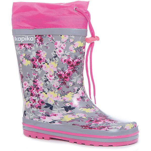 Резиновые сапоги для девочки KAPIKAРезиновые сапоги<br>Характеристики товара:<br><br>• цвет: серый/розовый<br>• внешний материал: резина, верх - болоньевая надставка<br>• внутренний материал: текстиль<br>• стелька: текстиль<br>• подошва: резина<br>• температурный режим: от +7°до +20°С<br>• утяжка со стопером по верху сапог<br>• без внутреннего съёмного сапожка<br>• не скользят<br>• рельефная подошва<br>• устойчивая подошва<br>• страна бренда: Российская Федерация<br>• страна изготовитель: Китай<br><br>Когда на улице сыро, резиновые сапоги - необходимый атрибут для ребенка. Эта модель отличается удобной формой, приятной хлопковой подкладкой и болоньевой надставкой со стоппером - так ноги точно останутся в сухости и тепле.<br><br>Резиновые сапоги от российского бренда Kapika (Капика) можно купить в нашем интернет-магазине.<br><br>Ширина мм: 237<br>Глубина мм: 180<br>Высота мм: 152<br>Вес г: 438<br>Цвет: белый<br>Возраст от месяцев: 84<br>Возраст до месяцев: 96<br>Пол: Женский<br>Возраст: Детский<br>Размер: 31,35,34,33,32<br>SKU: 5324290