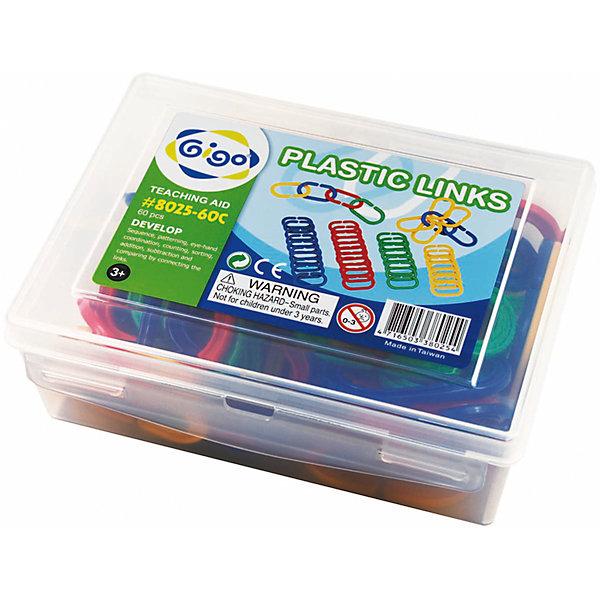 Набор Соедини кольцаПластмассовые конструкторы<br>Конструктор Gigo Plastic links (Гиго. Соедини кольца) состоит из 60 колец красного, желтого, зеленого и синего цветов.<br>Элементы легко соединяются между собой, и из них можно создавать различные фигурки.<br>Ширина мм: 72; Глубина мм: 152; Высота мм: 192; Вес г: 442; Возраст от месяцев: 36; Возраст до месяцев: 192; Пол: Унисекс; Возраст: Детский; SKU: 5324988;