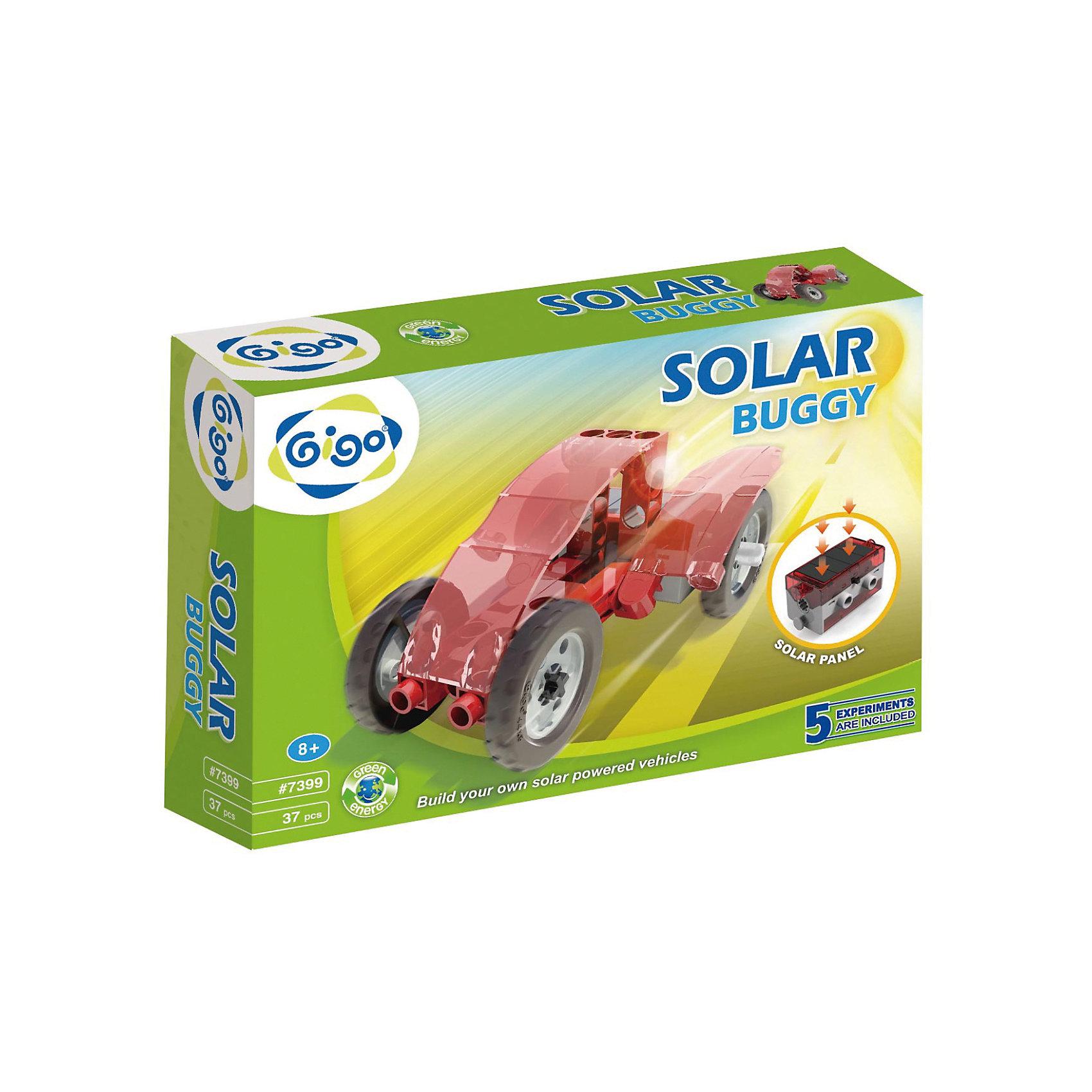 Конструктор Багги на солнечной энергииНаборы для робототехники<br>В Конструкторе Gigo Solar Buggy (Гиго. Багги на солнечной энергии) используется мотор-редуктор со встроенной солнечной батареей и при этом в него можно вставить еще и обычную батарейку. Все модели демонстрируют принцип превращения солнечной энергии в механическую. Днем под яркими и прямыми солнечными лучами все модели работают от энергии солнца, в помещении и на улице в пасмурную погоду можно использовать батарейку. Из конструктора можно собрать 5 моделей. В комплекте 37 деталей.<br><br>Ширина мм: 60<br>Глубина мм: 220<br>Высота мм: 280<br>Вес г: 380<br>Возраст от месяцев: 36<br>Возраст до месяцев: 192<br>Пол: Унисекс<br>Возраст: Детский<br>SKU: 5324991