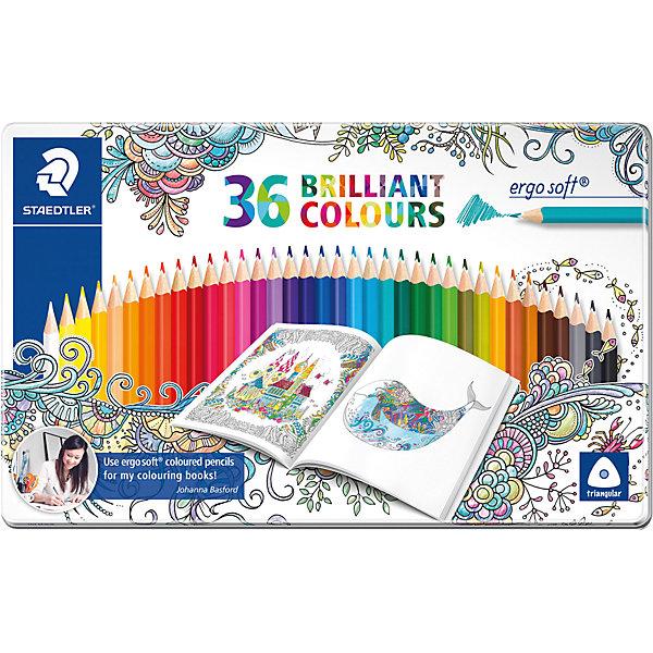 Карандаши цветные Ergosoft, 36 цветов, Johanna Basford, StaedtlerЦветные<br>Характеристики:<br><br>• возраст: от 5 лет<br>• в наборе: 36 разноцветных карандашей ярких цветов<br>• специальное издание «Johanna Basford» (Джоанна Бэсфорд – художник-иллюстратор, создающая уникальные раскраски антистресс)<br>• трехгранная форма<br>• материал корпуса: древесина<br>• диаметр: 3 мм.<br>• упаковка: металлическая коробка с подвесом<br>• размер упаковки: 29,2х18,3х1,1 см.<br>• вес: 442 гр.<br><br>Набор цветных карандашей Ergosoft, непременно, понравится юному художнику. Набор включает в себя 36 карандашей, ярких сочных цветов.<br><br>Карандаши имеют эргономичную трехгранную форму, очень мягкий и яркий грифель, уникальное нескользящее мягкое покрытие с полем для имени. Белое защитное покрытие ABS (Anti-break-system) защищает от поломки и сокращает ломкость грифеля.<br><br>Карандаши легко затачивать. Корпус карандашей изготовлен из древесины сертифицированных и специально подготовленных лесов, покрыт лаком на водной основе. Карандаши упакованы в металлическую коробку с подвесом.<br><br>Карандаши цветные Ergosoft, 36 цветов, Johanna Basford, Staedtler (Штедлер) можно купить в нашем интернет-магазине.<br>Ширина мм: 293; Глубина мм: 184; Высота мм: 16; Вес г: 444; Возраст от месяцев: 60; Возраст до месяцев: 1188; Пол: Унисекс; Возраст: Детский; SKU: 5325143;
