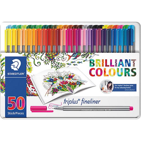 Набор капиллярных ручек Triplus, 50 цветов, Johanna Basford, StaedtlerПисьменные принадлежности<br>Характеристики:<br><br>• возраст: от 7 лет<br>• в наборе: 50 разноцветных ручек<br>• Специальное издание «Johanna Basford» (Джоанна Бэсфорд – художник-иллюстратор, создающая уникальные раскраски антистресс)<br>• яркие цвета<br>• цвет чернил соответствует цвету колпачка и заглушки<br>• чернила на водной основе<br>• отстирывается с большинства тканей<br>• материал корпуса: полипропилен<br>• толщина линии: 0,3 мм.<br>• упаковка: металлическая  коробка с подвесом<br>• размер упаковки: 17,9х31,2х3,9 мм.<br>• вес: 706 гр.<br><br>Набор капиллярных ручек Triplus fineliner в металлической упаковке с подвесом идеально подходит как для письма и работы с документами, так и для творчества.<br><br>Эргономичная форма обеспечивает комфортное письмо без усилий и усталости. Пишущий узел завальцованный в металл гарантирует мягкое и плавное письмо. Чернила на водной основе легко отстирывается с большинства тканей. Уникальная система позволяет оставлять ручку без колпачка на несколько дней без угрозы высыхания (тест ISO). Корпус из полипропилена и большой запас чернил гарантирует долгий срок службы.<br><br>Набор капиллярных ручек Triplus, 50 цветов, Johanna Basford, Staedtler (Штедлер) можно купить в нашем интернет-магазине.<br>Ширина мм: 312; Глубина мм: 178; Высота мм: 40; Вес г: 715; Возраст от месяцев: 96; Возраст до месяцев: 144; Пол: Унисекс; Возраст: Детский; SKU: 5325146;