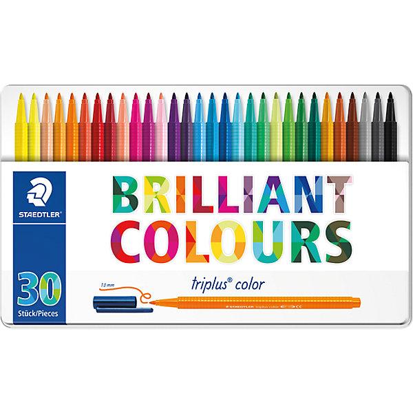 Набор фломастеров Triplus Color, 30 цветов, 1 мм, StaedtlerФломастеры<br>Характеристики:<br><br>• возраст: от 3 лет<br>• в наборе: 30 разноцветных фломастеров ярких цветов<br>• специальное издание «Johanna Basford» (Джоанна Бэсфорд – художник-иллюстратор, создающая уникальные раскраски антистресс)<br>• трехгранный корпус<br>• чернила на водной основе<br>• материал корпуса: полипропилен<br>• толщина линии: приблизительно 1 мм.<br>• упаковка: металлическая  коробка с подвесом<br>• размер упаковки: 17,9х31,2х1,9 см.<br>• вес: 490 гр.<br><br>Набор фломастеров Triplus Color - это 30 ярких фломастеров разных цветов с эргономичным трехгранным корпусом для легкого и удобного письма и рисования.<br><br>Фломастеры имеют прочный, устойчивый к нажиму пишущий узел, вентилируемый колпачок. Чернила на водной основе отстирываются с большинства поверхностей. Фломастеры без колпачка, в открытом состоянии не высыхают несколько дней (тест ISO 554). Корпус и колпачок из полипропилена гарантируют долгий срок службы.<br><br>Набор фломастеров Triplus Color, 30 цветов, 1 мм, Staedtler (Штедлер) можно купить в нашем интернет-магазине.<br>Ширина мм: 180; Глубина мм: 162; Высота мм: 19; Вес г: 271; Возраст от месяцев: 60; Возраст до месяцев: 120; Пол: Унисекс; Возраст: Детский; SKU: 5325147;