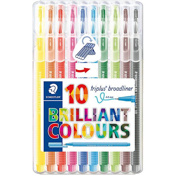 Набор капиллярных ручек Triplus, 10 цветов, 0,8 мм, StaedtlerПисьменные принадлежности<br>Характеристики:<br><br>• возраст: от 7 лет<br>• в наборе: 10 разноцветных ручек<br>• трехгранный корпус<br>• яркие цвета<br>• цвет чернил соответствует цвету колпачка и заглушки<br>• чернила на водной основе<br>• отстирывается с большинства тканей<br>• материал корпуса: полипропилен<br>• толщина линии: 0,8 мм.<br>• упаковка: пластиковая коробка-подставка<br>• размер упаковки: 17х10,9х1,7 мм.<br>• вес: 130 гр.<br><br>Набор трехгранных капиллярных ручек Triplus broadliner в пластиковой коробке-подставке идеален как для письма, так и для раскрашивания, рисования.<br><br>Эргономичная форма обеспечивает комфортное письмо без усилий и усталости. Пишущий узел завальцованный в металл гарантирует мягкое и плавное письмо. Чернила на водной основе легко отстирывается с большинства тканей. Уникальная система позволяет оставлять ручку без колпачка на несколько дней без угрозы высыхания (тест ISO). Корпус из полипропилена и большой запас чернил гарантирует долгий срок службы.<br><br>Набор капиллярных ручек Triplus, 10 цветов, 0,8 мм, Staedtler (Штедлер) можно купить в нашем интернет-магазине.<br>Ширина мм: 170; Глубина мм: 109; Высота мм: 20; Вес г: 129; Возраст от месяцев: 96; Возраст до месяцев: 144; Пол: Унисекс; Возраст: Детский; SKU: 5325152;