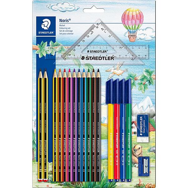 Набор для рисования и черчения, 8 предметов, StaedtlerШкольные аксессуары<br>Характеристики:<br><br>• возраст: от 7 лет<br>• в наборе: 2 чернографитовых карандаша 120-НВ, 10 цветных карандашей, 4 фломастера, ластик, точилка, линейка (15 см), угольник (15 см)<br>• упаковка: блистер<br>• размер упаковки: 34х22,5х1,6 см.<br>• вес: 235 гр.<br><br>Набор Staedtler (Штедлер) отличается качеством и практичностью. Набор включает в себя все необходимое для рисования и черчения.<br><br>Высококачественные чернографитовые карандаши предназначены для письма, черчения и набросков. Идеальны для школы и офиса. Непревзойденная устойчивость к поломке благодаря специально разработанному грифелю и особой проклейке. При производстве используется качественная древесина. Грифель твердо-мягкий - HB.<br><br>Цветные карандаши помогут маленькому художнику создавать настоящие произведения искусства. Система защиты от поломки ABS (Anti-break-system) увеличивает устойчивость и сокращает ломкость грифеля. При производстве используется древесина сертифицированных и специально подготовленных лесов.<br><br>Фломастеры имеют прочный, устойчивый к нажиму пишущий узел. Защита от высыхания - могут быть оставлены без колпачка на несколько дней (тест ISO 554). Водорастворимые чернила на основе пищевых красителей. Отстирываются с большинства поверхностей. Толщина линии примерно 1,0 мм.<br><br>Ластик Mars plastic прекрасно удаляет графит с бумаги и чертежной кальки. Изготовлен из термопластического синтетического каучука, гипоаллергенен.<br><br>Кроме того в набор включены точилка с одним отверстием, линейка (15 см) и угольник (15 см).<br><br>Набор для рисования и черчения, 8 предметов, Staedtler (Штедлер) можно купить в нашем интернет-магазине.<br>Ширина мм: 305; Глубина мм: 230; Высота мм: 25; Вес г: 222; Возраст от месяцев: 60; Возраст до месяцев: 120; Пол: Унисекс; Возраст: Детский; SKU: 5325154;