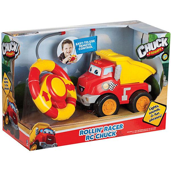 Радиоуправляемая машинка и руль, Чак и его друзьяРадиоуправляемые машины<br>Характеристики:<br><br>• Предназначение: для сюжетно-ролевых игр<br>• Пол: для мальчиков<br>• Коллекция: Чак и его друзья<br>• Цвет: черный, оранжевый, красный, желтый<br>• Материал: пластик<br>• Комплектация: машинка, руль-пульт<br>• Наличие звуковых эффектов<br>• Батарейки: для пульта – 2 шт. типа ААА (для пульта); для машинки –3 шт. типа ААА (в комплекте не предусмотрены)<br>• Вес: 558 г<br>• Размеры упаковки (Д*В*Ш): 12*11,4*17,7 см<br>• Упаковка: картонная коробка открытого типа<br>• Особенности ухода: сухая или влажная чистка<br><br>Радиоуправляемая машинка и руль, Чак и его друзья – эта  машинка производителем которой является Minecraft, создана по мотивам детского мультсериала Приключения Чака и его друзей. Машинка выполнена из ударопрочного пластика, который отвечает международным стандартам качества и безопасности. Элементы игрового набора окрашены нетоксичными красками. <br><br>У игрушки предусмотрен пульт управления в форме руля. Интерактивная машинка озвучена звуками и фразами из сюжетов мультфильма. Машинка выполнена в виде грузовика с откидывающимся кузовом. Подвижные или сюжетно-ролевые игры с радиоуправляемой машинкой  будут способствовать развитию памяти, фантазии и воображения вашего мальчика.<br><br>Радиоуправляемую машинку и руль, Чак и его друзья можно купить в нашем интернет-магазине.<br>Ширина мм: 120; Глубина мм: 52; Высота мм: 70; Вес г: 558; Возраст от месяцев: 36; Возраст до месяцев: 2147483647; Пол: Мужской; Возраст: Детский; SKU: 5331553;