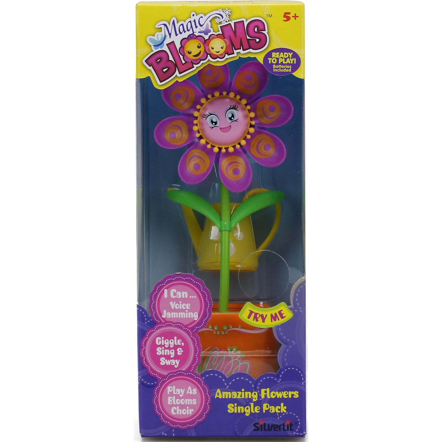 Волшебный цветок, Magic BloomsЗаводные игрушки<br>Характеристики:<br><br>• Предназначение: для развивающих игр<br>• Коллекция: Волшебный цветок<br>• Диаметр цветка: 8 см<br>• Высота кашпо: 6 см<br>• Материал: пластик<br>• Комплектация: цветок в кашпо, лейка<br>• Наличие звуковых и световых эффектов<br>• Предусмотрена функция записи<br>• Игрушка синхронизируется с другими цветами и аксессуарами данной серии<br>• Батарейки: 3 шт. типа ААА (предусмотрены в комплекте)<br>• Вес: 227 г<br>• Размеры упаковки (Д*В*Ш): 12,7*22*7,6 см<br>• Упаковка: блистер на картоне с европодвесом <br>• Особенности ухода: сухая чистка<br><br>Волшебный цветок, Magic Blooms – это интерактивная развивающая игрушка, производителем которой является Magic Blooms. Цветок и лейка выполнены из пластика, который отвечает международным стандартам качества и безопасности. Элементы игрового набора окрашены нетоксичными красками. Использованный пластик устойчив к ударам и появлениям царапин, при длительной эксплуатации цвет элементов не изменяется. Набор состоит из цветка в кашпо и лейки. <br><br>Если цветок полить из лейки, он распускает свои яркие лепестки, если прикоснуться к кашпо – растение начинает петь и танцевать в такт мелодии. У цветка предусмотрена функция записи, поэтому игрушка может воспроизводить недлинные отрывки песенок. Цветок умеет синхронизироваться с другими цветами и аксессуарами из данной коллекции. Создайте цветочный хор из волшебных цветов и жуков и организуйте настоящий концерт для своих друзей и родных!<br><br>Волшебный цветок, Magic Blooms можно купить в нашем интернет-магазине.<br><br>Ширина мм: 127<br>Глубина мм: 76<br>Высота мм: 22<br>Вес г: 227<br>Возраст от месяцев: 36<br>Возраст до месяцев: 2147483647<br>Пол: Женский<br>Возраст: Детский<br>SKU: 5331557