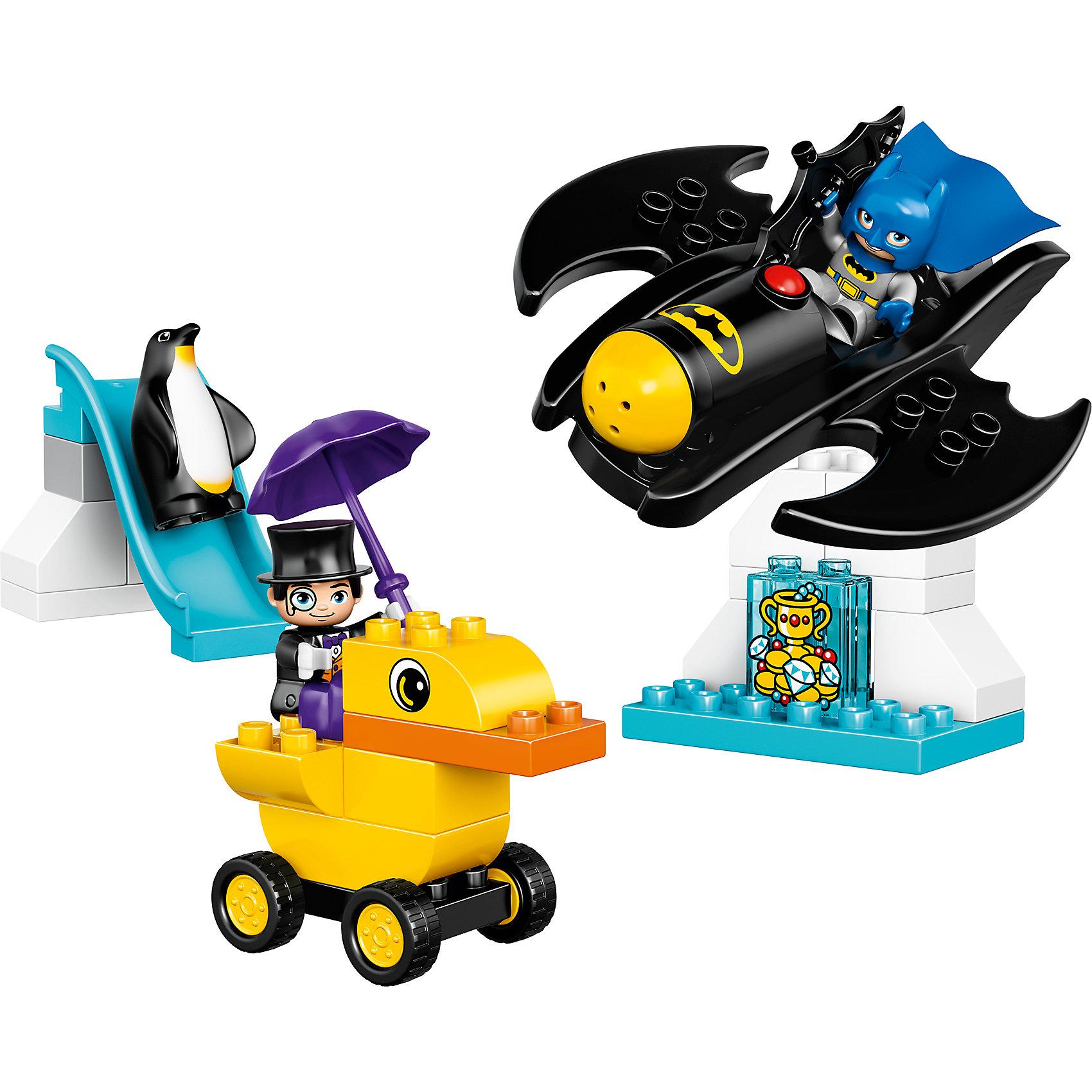LEGO DUPLO 10823: Приключения на БэтмолётеПластмассовые конструкторы<br>LEGO DUPLO 10823: Приключения на Бэтмолёте<br><br>Характеристики:<br><br>- в набор входит: детали бэтмолета, уткомобиля, горки и льдины, фигурки Бэтмена и Пингвина, аксессуары, красочная инструкция<br>- состав: пластик<br>- количество деталей: 28 <br>- размер уткомобиля: 10 * 6 * 8 см.<br>- размер бэтмолета: 16 * 5 * 15 см.<br>- для детей в возрасте: от 2 до 5 лет<br>- Страна производитель: Дания/Китай/Чехия<br><br>Легендарный конструктор LEGO (ЛЕГО) представляет серию «DUPLO» (Д?пло) для самых маленьких строителей ЛЕГО от 2-х лет. Кубики этой серии в два раза больше обычных, так же как и фигурки. Серия позволяет ребёнку самостоятельно собирать наборы легкие в постройке и сосредоточенные на ситуациях из повседневной жизни, профессиях и любимых героях из мультфильмов. Этот набор посвящен юным фанатам мультфильмов о Бэтмене. Здесь вы найдете все необходимое для отличной игры. Фигурка Бэтмена отлично детализирована, он представлен в синем бэткостюме с синей маской и синим плащом из мягкого безопасного пластика. Злодей Пингвин как всегда в своем фраке и шляпе. Фигурки могут двигать руками, головой и принимать сидячее положение. Бэтмолет оснащен стреляющей пушкой и большим снарядом, теперь злодею не уйти! Пингвин расположился на своей базе вместе с украденными драгоценностями. С ним его приспешник – небольшой пингвин, который катается в горки. У злодея тоже исеется транспортное средство – желтый уткомобиль. Из аксессуаров к Бэтмену прилагется бэтаранг, а к Пингвину фиолетовый зонтик. Все детали набора легко собираются и в них можно играть почти сразу. Играя с конструктором ребенок развивает моторику рук, воображение и логическое мышление. Придумывайте новые игры с набором LEGO «DUPLO»!<br><br>Конструктор LEGO DUPLO 10823: Приключения на Бэтмолёте можно купить в нашем интернет-магазине.<br><br>Ширина мм: 76<br>Глубина мм: 282<br>Высота мм: 262<br>Вес г: 527<br>Возраст от месяцев: 24<br>Возраст до меся