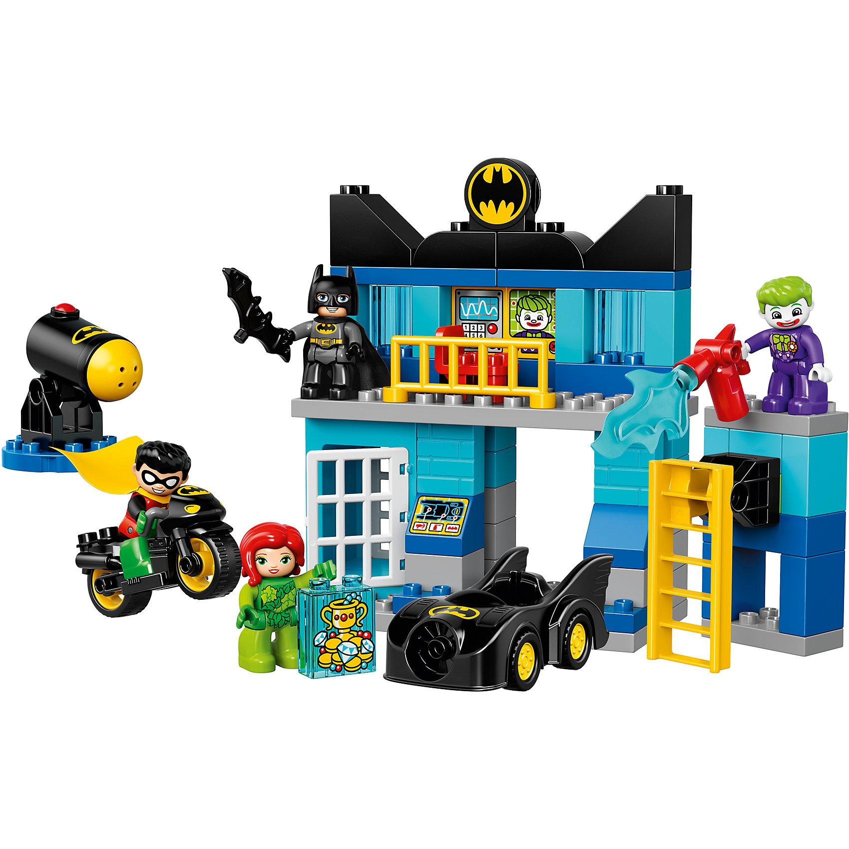 LEGO DUPLO 10842: БэтпещераLEGO DUPLO 10842: Бэтпещера<br><br>Характеристики:<br><br>- в набор входит: детали бэтпещеры, пушки, бэтмобиль, бэтмоцикл, 4 фигурки, аксессуары, красочная инструкция<br>- фигурки набора: Бэтмен, Робин, Джокер, Ядовитый Плющ<br>- состав: пластик<br>- количество деталей: 73 <br>- размер пещеры: 23 * 9 * 19 см.<br>- размер бэтмобиля: 12 * 4 * 5 см.<br>- размер бэтмоцикла: 9 * 4 * 5 см.<br>- для детей в возрасте: от 2 до 5 лет<br>- Страна производитель: Дания/Китай/Чехия<br><br>Легендарный конструктор LEGO (ЛЕГО) представляет серию «DUPLO» (Д?пло) для самых маленьких строителей ЛЕГО от 2-х лет. Кубики этой серии в два раза больше обычных, так же как и фигурки. Серия позволяет ребёнку самостоятельно собирать наборы легкие в постройке и сосредоточенные на ситуациях из повседневной жизни, профессиях и любимых героях из мультфильмов. Этот набор посвящен юным фанатам мультфильмов о Бэтмене. Здесь вы найдете все необходимое для отличной игры. Фигурка Бэтмена отлично детализирована, он представлен в черном бэткостюме с черной маской и черным плащом из мягкого безопасного пластика. С ним его компаньон, Робин, тоже с плащом и в супергеройком костюме. Двухэтажная бэтпещера оснащена ультрасовременным компьютером для поиска злодея Джокера, Бэтмен сидит на вращающемся стуле и анализирует ситуацию. На первом этаже расположена бэттюрьма для преступников и пушка стреляющая снарядами. Бэтмен получил сингал о местонахождении двух преступников, он сел в свой бэтмобиль, а Робин решил поехать на бэтмоцикле. Вместе они настигли Джокера и Ядовитого Плюща за ограблением ювелирного магазина. Злодей джокер вооружен. Смогут ли они остановить преступников? Все фигурки набора могут двигать руками, головой и принимать сидячее положение. Детали набора легко собираются и в них можно играть почти сразу. Играя с конструктором ребенок развивает моторику рук, воображение и логическое мышление. Придумывайте новые игры с набором LEGO «DUPLO»!<br><br>Конструктор LEGO DUPLO 10842: 