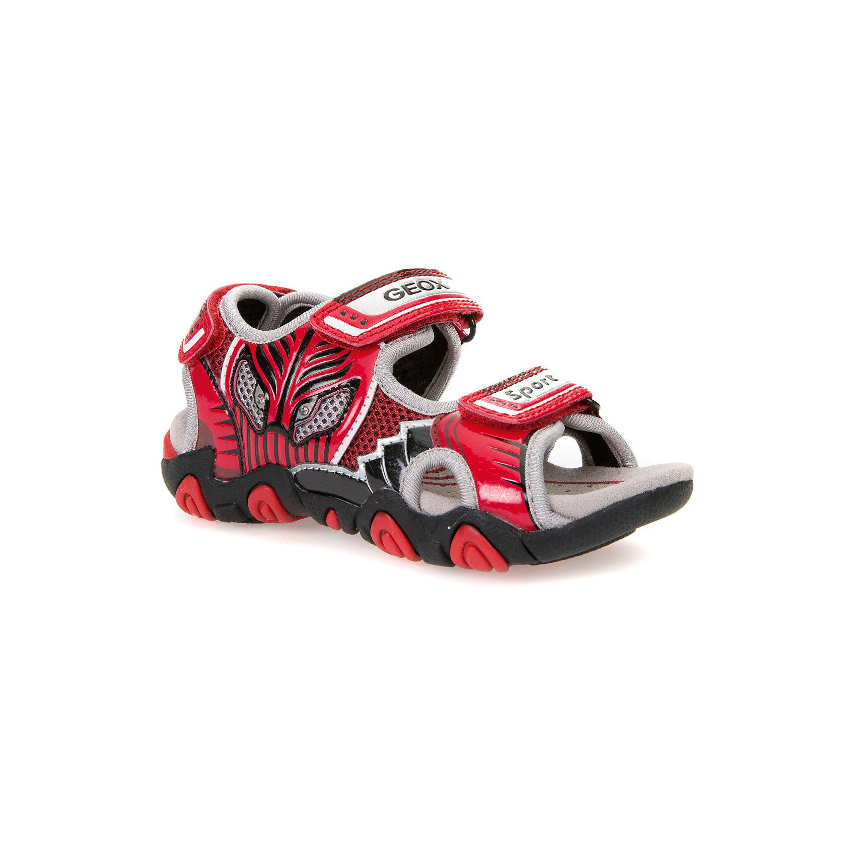 Сандалии для мальчика GEOXХарактеристики товара:<br><br>• цвет: красный<br>• внешний материал: искусственные материалы<br>• внутренний материал: синтетическая ткань, искусственные материалы<br>• стелька: натуральная замша<br>• подошва: резина<br>• высота подошвы: 2,5 см.<br>• застежка: липучка<br>• открытый носок<br>• спортивный стиль<br>• устойчивая подошва<br>• мембранная технология<br>• декорированы принтом<br>• коллекция: весна-лето 2017<br>• страна бренда: Италия<br><br>Легкие удобные сандали помогут обеспечить ребенку комфорт и дополнить наряд. Универсальный цвет позволяет надевать их под одежду разных расцветок. Сандали удобно сидят на ноге и стильно смотрятся. Отличный вариант для жаркой погоды!<br><br>Обувь от бренда GEOX - это классический пример итальянского стиля и высокого качества, известных по всему миру. Модели этой марки - неизменно модные и комфортные. Для их производства используются только безопасные, качественные материалы и фурнитура. Отличие этой линейки обуви - мембранная технология, которая обеспечивает естественное дыхание обуви и в то же время не пропускает воду. Это особенно важно для детской обуви!<br><br>Сандали от итальянского бренда GEOX (ГЕОКС) можно купить в нашем интернет-магазине.<br><br>Ширина мм: 262<br>Глубина мм: 176<br>Высота мм: 97<br>Вес г: 427<br>Цвет: красный<br>Возраст от месяцев: 108<br>Возраст до месяцев: 120<br>Пол: Мужской<br>Возраст: Детский<br>Размер: 33,28,29,30,31,32<br>SKU: 5334497