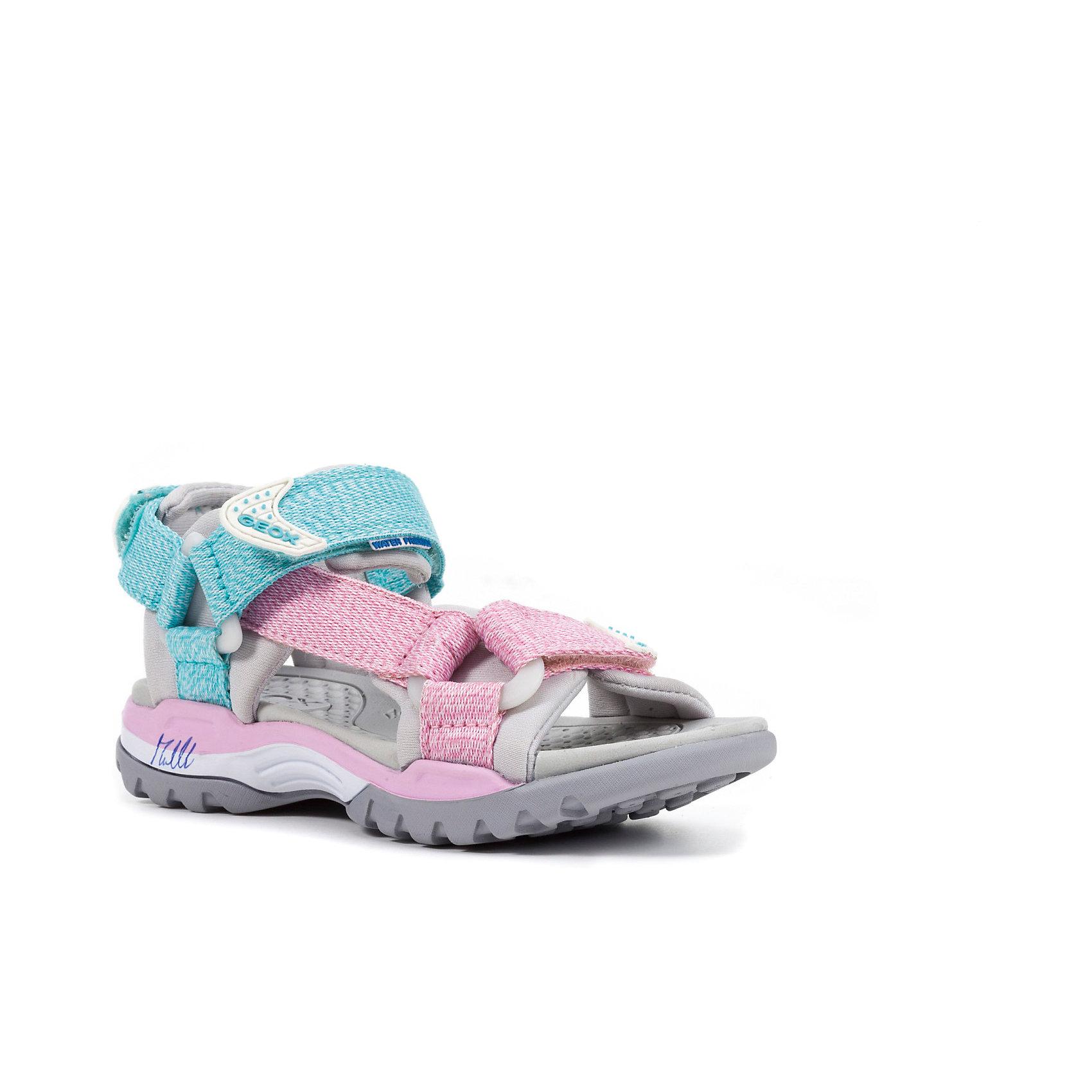 Сандалии для девочки GEOXХарактеристики товара:<br><br>• цвет: розовый/голубой<br>• внешний материал: текстиль<br>• внутренний материал: текстиль<br>• стелька: искусственные материалы<br>• подошва: резина<br>• застежка: липучка<br>• открытый носок<br>• спортивный стиль<br>• устойчивая подошва<br>• мембранная технология<br>• декорированы принтом<br>• коллекция: весна-лето 2017<br>• страна бренда: Италия<br><br>Легкие удобные сандали помогут обеспечить ребенку комфорт и дополнить наряд. Универсальный цвет позволяет надевать их под одежду разных расцветок. Сандали удобно сидят на ноге и стильно смотрятся. Отличный вариант для жаркой погоды!<br><br>Обувь от бренда GEOX - это классический пример итальянского стиля и высокого качества, известных по всему миру. Модели этой марки - неизменно модные и комфортные. Для их производства используются только безопасные, качественные материалы и фурнитура. Отличие этой линейки обуви - мембранная технология, которая обеспечивает естественное дыхание обуви и в то же время не пропускает воду. Это особенно важно для детской обуви!<br><br>Сандали от итальянского бренда GEOX (ГЕОКС) можно купить в нашем интернет-магазине.<br><br>Ширина мм: 227<br>Глубина мм: 145<br>Высота мм: 124<br>Вес г: 325<br>Цвет: розовый<br>Возраст от месяцев: 132<br>Возраст до месяцев: 144<br>Пол: Женский<br>Возраст: Детский<br>Размер: 35,27,28,29,30,31,32,33,34<br>SKU: 5335774