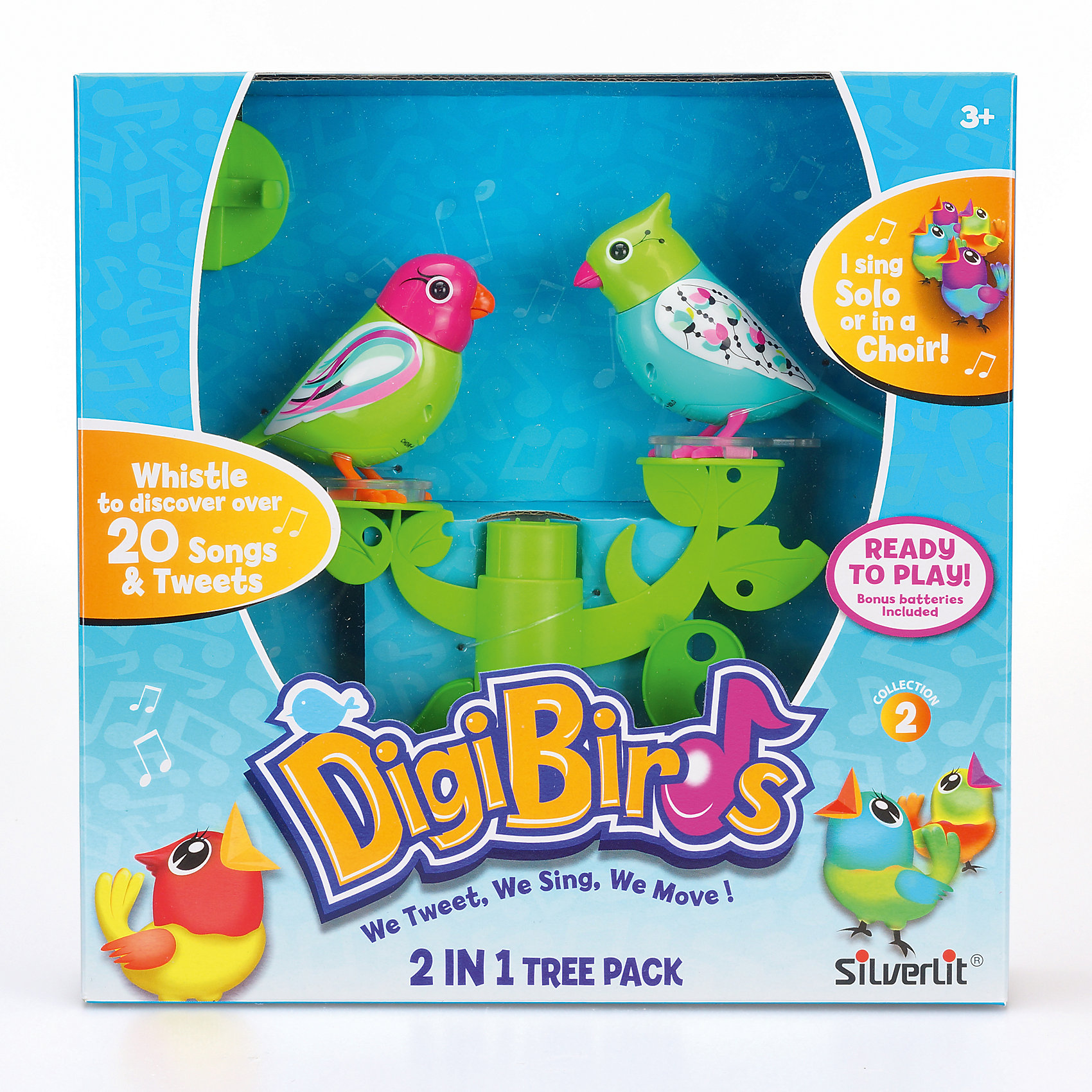 Две птички с деревом, зелено-голубые, DigiBirdsИнтерактивные животные<br>Характеристики:<br><br>• Предназначение: для сюжетно-ролевых игр, интерьерные игрушки<br>• Коллекция: DigiBirds<br>• Материал: пластик<br>• Комплектация: две птички, дерево-подставка, свисток-кольцо<br>• Батарейки: 6 шт. типа LR44 (предусмотрены в комплекте)<br>• Дерево-подставка совместимо с другими деревьями из данной серии<br>• Птички синхронизируются с птичками из других наборов данной серии<br>• В записи 55 мелодий<br>• Два режима: хор и соло<br>• Вес: 330 г<br>• Размеры упаковки (Д*В*Ш): 5,7*24,8*24,8 см<br>• Упаковка: картонная коробка с блистером<br>• Особенности ухода: сухая чистка<br><br>Две птички с деревом, зелено-голубые, DigiBirds ? это игровой набор от мирового лидера в производстве интерактивных игрушек – Silverlit. Игрушка выполнена из прочного и безопасного пластика, окрашена нетоксичными красками. Набор состоит из двух разноцветных птичек, расположенных на ветвях дерева, которое является подставкой. Чтобы заставить птичек петь, достаточно подуть на грудку или посвистеть в свисток, который предусмотрен в комплекте. <br><br>Птички могут петь в двух режимах: хор и соло. Синхронизация происходит автоматически. Всего в их творческом репертуаре имеется 55 разнообразных песенок и звуков. Две птички с деревом, зелено-голубые, DigiBirds ? эта уникальная игрушка, которая будет способствовать развитию музыкального слуха, а текже развивать речевой аппарат ребенка за счет простых, но эффективных упражнений: подуть в свисток, подуть на птичку.<br><br>Двух птичек с деревом, зелено-голубых, DigiBirds, можно купить в нашем интернет-магазине.<br><br>Ширина мм: 57<br>Глубина мм: 248<br>Высота мм: 248<br>Вес г: 330<br>Возраст от месяцев: 36<br>Возраст до месяцев: 84<br>Пол: Женский<br>Возраст: Детский<br>SKU: 5340139