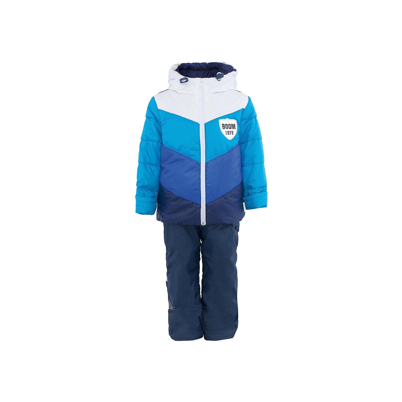 Комплект для мальчика BOOM by OrbyХарактеристики товара:<br><br>• цвет: синий/голубой/белый<br>• состав: <br>курточка: верх - болонь, подкладка - поликоттон, полиэстер, утеплитель: эко-синтепон 150 г/м2<br>брюки: верх - таффета, подкладка - флис<br>• комплектация: куртка, брюки<br>• температурный режим: от -5 С° до +10 С° <br>• из непромокаемой ткани, с водо и грязеотталкивающими пропитками<br>• капюшон с утяжкой, не отстёгивается<br>• застежка - молния<br>• куртка декорирована нашивкой<br>• отвороты помогают заметно трансформировать размер<br>• комфортная посадка<br>• страна производства: Российская Федерация<br>• страна бренда: Российская Федерация<br>• коллекция: весна-лето 2017<br><br>Такой комплект - универсальный вариант для межсезонья с постоянно меняющейся погодой. Эта модель - модная и удобная одновременно! Изделие отличается стильным ярким дизайном. Куртка и брюки хорошо сидят по фигуре, отлично сочетается с различной обувью. Модель была разработана специально для детей.<br><br>Одежда от российского бренда BOOM by Orby уже завоевала популярностью у многих детей и их родителей. Вещи, выпускаемые компанией, качественные, продуманные и очень удобные. Для производства коллекций используются только безопасные для детей материалы. Спешите приобрести модели из новой коллекции Весна-лето 2017! <br><br>Комплект для мальчика от бренда BOOM by Orby можно купить в нашем интернет-магазине.<br><br>Ширина мм: 356<br>Глубина мм: 10<br>Высота мм: 245<br>Вес г: 519<br>Цвет: синий<br>Возраст от месяцев: 12<br>Возраст до месяцев: 18<br>Пол: Мужской<br>Возраст: Детский<br>Размер: 86,104,116,122,92,98,110<br>SKU: 5342603