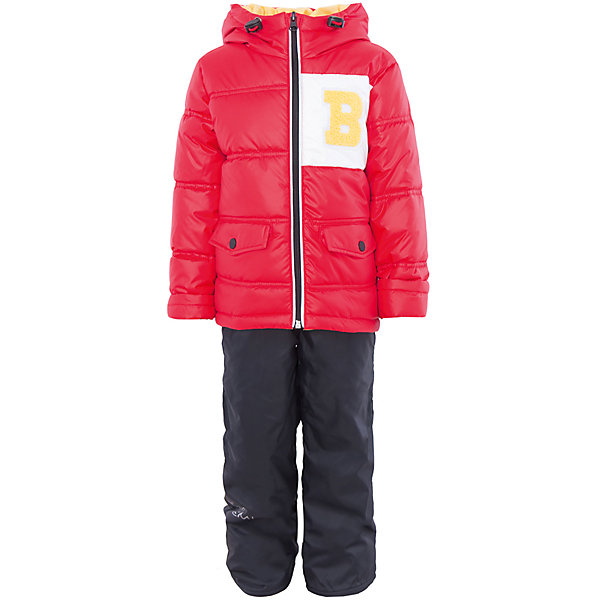 Комплект для мальчика BOOM by OrbyВерхняя одежда<br>Характеристики товара:<br><br>• цвет: красный/тёмно-синий<br>• состав: <br>курточка: верх - болонь, подкладка - поликоттон, полиэстер, утеплитель: эко-синтепон 150 г/м2<br>брюки: верх - таффета, подкладка - флис<br>• комплектация: куртка, брюки<br>• температурный режим: от -5 С° до +10 С° <br>• капюшон с утяжкой, не отстёгивается<br>• из практичной ткани<br>• застежка - молния<br>• куртка декорирована нашивкой<br>• отвороты помогают заметно трансформировать размер<br>• комфортная посадка<br>• страна производства: Российская Федерация<br>• страна бренда: Российская Федерация<br>• коллекция: весна-лето 2017<br><br>Такой комплект - универсальный вариант для межсезонья с постоянно меняющейся погодой. Эта модель - модная и удобная одновременно! Изделие отличается стильным ярким дизайном. Куртка и брюки хорошо сидят по фигуре, отлично сочетается с различной обувью. Модель была разработана специально для детей.<br><br>Одежда от российского бренда BOOM by Orby уже завоевала популярностью у многих детей и их родителей. Вещи, выпускаемые компанией, качественные, продуманные и очень удобные. Для производства коллекций используются только безопасные для детей материалы. Спешите приобрести модели из новой коллекции Весна-лето 2017! <br><br>Комплект для мальчика от бренда BOOM by Orby можно купить в нашем интернет-магазине.<br>Ширина мм: 356; Глубина мм: 10; Высота мм: 245; Вес г: 519; Цвет: красный; Возраст от месяцев: 12; Возраст до месяцев: 18; Пол: Мужской; Возраст: Детский; Размер: 86,122,116,110,98,92,104; SKU: 5342619;