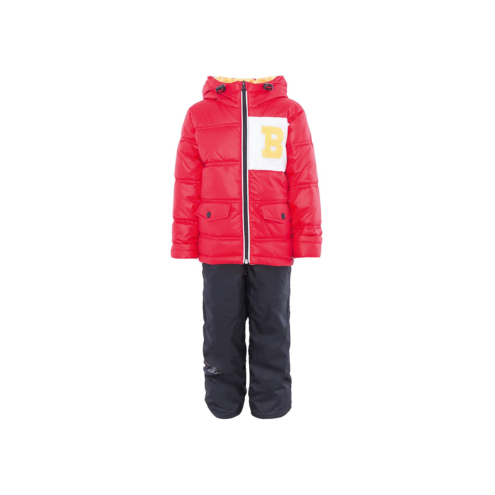Комплект для мальчика BOOM by OrbyВерхняя одежда<br>Характеристики товара:<br><br>• цвет: красный/тёмно-синий<br>• состав: <br>курточка: верх - болонь, подкладка - поликоттон, полиэстер, утеплитель: эко-синтепон 150 г/м2<br>брюки: верх - таффета, подкладка - флис<br>• комплектация: куртка, брюки<br>• температурный режим: от -5 С° до +10 С° <br>• капюшон с утяжкой, не отстёгивается<br>• из практичной ткани<br>• застежка - молния<br>• куртка декорирована нашивкой<br>• отвороты помогают заметно трансформировать размер<br>• комфортная посадка<br>• страна производства: Российская Федерация<br>• страна бренда: Российская Федерация<br>• коллекция: весна-лето 2017<br><br>Такой комплект - универсальный вариант для межсезонья с постоянно меняющейся погодой. Эта модель - модная и удобная одновременно! Изделие отличается стильным ярким дизайном. Куртка и брюки хорошо сидят по фигуре, отлично сочетается с различной обувью. Модель была разработана специально для детей.<br><br>Одежда от российского бренда BOOM by Orby уже завоевала популярностью у многих детей и их родителей. Вещи, выпускаемые компанией, качественные, продуманные и очень удобные. Для производства коллекций используются только безопасные для детей материалы. Спешите приобрести модели из новой коллекции Весна-лето 2017! <br><br>Комплект для мальчика от бренда BOOM by Orby можно купить в нашем интернет-магазине.<br><br>Ширина мм: 356<br>Глубина мм: 10<br>Высота мм: 245<br>Вес г: 519<br>Цвет: красный<br>Возраст от месяцев: 12<br>Возраст до месяцев: 18<br>Пол: Мужской<br>Возраст: Детский<br>Размер: 86,122,104,92,98,110,116<br>SKU: 5342619