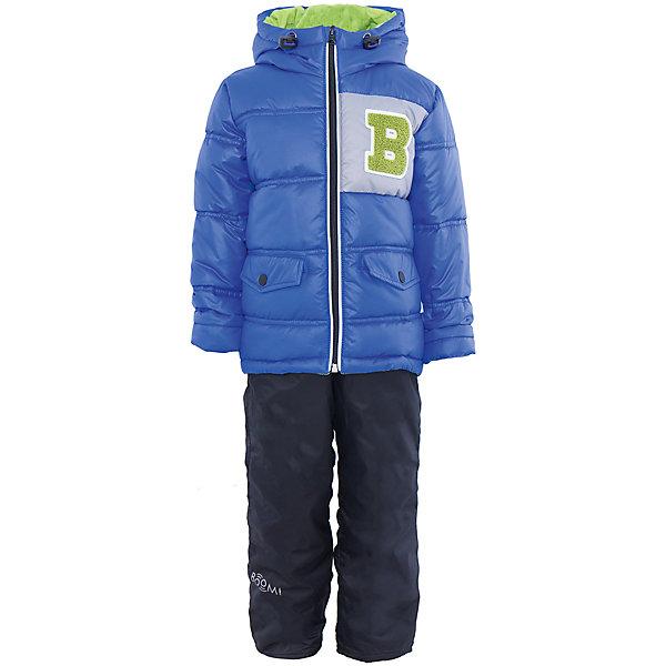 Комплект для мальчика BOOM by OrbyВерхняя одежда<br>Характеристики товара:<br><br>• цвет: синий/тёмно-синий<br>• состав: <br>курточка: верх - болонь, подкладка - поликоттон, полиэстер, утеплитель: эко-синтепон 150 г/м2<br>брюки: верх - таффета, подкладка - флис<br>• комплектация: куртка, брюки<br>• температурный режим: от -5 С° до +10 С° <br>• капюшон с утяжкой, не отстёгивается<br>• из практичной ткани<br>• застежка - молния<br>• куртка декорирована нашивкой<br>• отвороты помогают заметно трансформировать размер<br>• комфортная посадка<br>• страна производства: Российская Федерация<br>• страна бренда: Российская Федерация<br>• коллекция: весна-лето 2017<br><br>Такой комплект - универсальный вариант для межсезонья с постоянно меняющейся погодой. Эта модель - модная и удобная одновременно! Изделие отличается стильным ярким дизайном. Куртка и брюки хорошо сидят по фигуре, отлично сочетается с различной обувью. Модель была разработана специально для детей.<br><br>Одежда от российского бренда BOOM by Orby уже завоевала популярностью у многих детей и их родителей. Вещи, выпускаемые компанией, качественные, продуманные и очень удобные. Для производства коллекций используются только безопасные для детей материалы. Спешите приобрести модели из новой коллекции Весна-лето 2017! <br><br>Комплект для мальчика от бренда BOOM by Orby можно купить в нашем интернет-магазине.<br><br>Ширина мм: 356<br>Глубина мм: 10<br>Высота мм: 245<br>Вес г: 519<br>Цвет: лиловый<br>Возраст от месяцев: 12<br>Возраст до месяцев: 18<br>Пол: Мужской<br>Возраст: Детский<br>Размер: 86,104,122,116,110,98,92<br>SKU: 5342627
