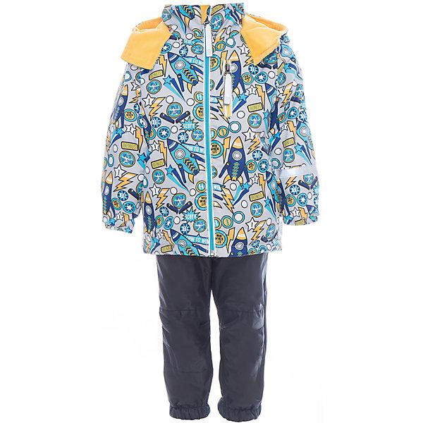 Комплект для мальчика BOOM by OrbyВерхняя одежда<br>Характеристики товара:<br><br>• цвет: серый<br>• курточка: верх - нейлон с мембранным покрытием 3000*3000, подкладка - поларфлис, полиэстер, утеплитель: FiberSoft 100 г/м2<br>• брюки: верх - нейлон с мембранным покрытием 3000*3000, подкладка - поларфлис<br>• комплектация: куртка, брюки<br>• температурный режим: от -5 С° до +10 С° <br>• эластичные регулируемые подтяжки<br>• застежка - молния<br>• куртка декорирована принтом<br>• капюшон<br>• силиконовые штрипки<br>• комфортная посадка<br>• страна производства: Российская Федерация<br>• страна бренда: Российская Федерация<br>• коллекция: весна-лето 2017<br><br>Такой комплект - универсальный вариант для межсезонья с постоянно меняющейся погодой. Эта модель - модная и удобная одновременно! Изделие отличается стильным ярким дизайном. Куртка и брюки хорошо сидят по фигуре, отлично сочетается с различной обувью. Модель была разработана специально для детей.<br><br>Одежда от российского бренда BOOM by Orby уже завоевала популярностью у многих детей и их родителей. Вещи, выпускаемые компанией, качественные, продуманные и очень удобные. Для производства коллекций используются только безопасные для детей материалы. Спешите приобрести модели из новой коллекции Весна-лето 2017! <br><br>Комплект для мальчика от бренда BOOM by Orby можно купить в нашем интернет-магазине.<br>Ширина мм: 356; Глубина мм: 10; Высота мм: 245; Вес г: 519; Цвет: черный; Возраст от месяцев: 36; Возраст до месяцев: 48; Пол: Мужской; Возраст: Детский; Размер: 104,92,122,116,110,98,86,80; SKU: 5342817;