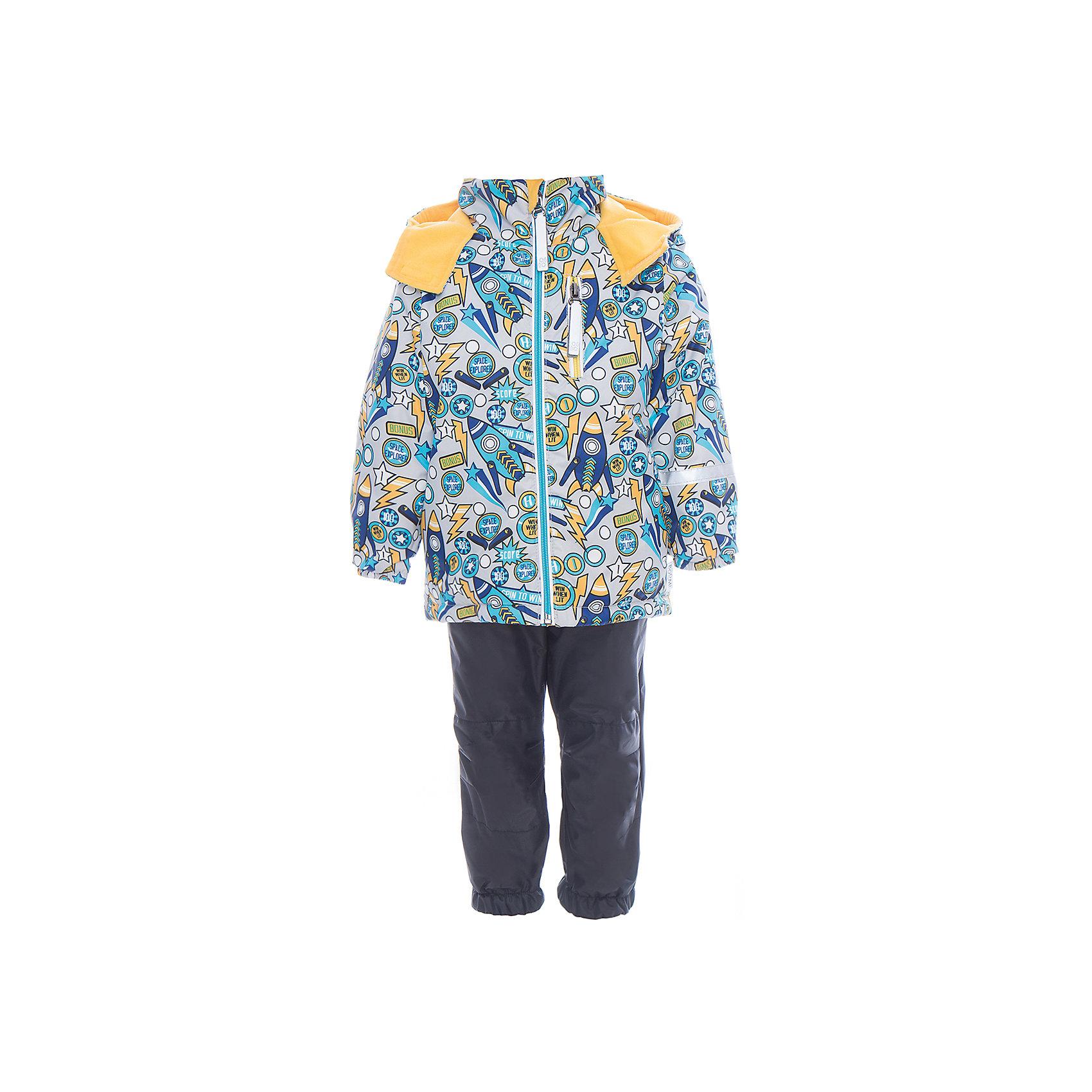 Комплект для мальчика BOOM by OrbyВерхняя одежда<br>Характеристики товара:<br><br>• цвет: серый<br>• курточка: верх - нейлон с мембранным покрытием 3000*3000, подкладка - поларфлис, полиэстер, утеплитель: FiberSoft 100 г/м2<br>• брюки: верх - нейлон с мембранным покрытием 3000*3000, подкладка - поларфлис<br>• комплектация: куртка, брюки<br>• температурный режим: от -5 С° до +10 С° <br>• эластичные регулируемые подтяжки<br>• застежка - молния<br>• куртка декорирована принтом<br>• капюшон<br>• силиконовые штрипки<br>• комфортная посадка<br>• страна производства: Российская Федерация<br>• страна бренда: Российская Федерация<br>• коллекция: весна-лето 2017<br><br>Такой комплект - универсальный вариант для межсезонья с постоянно меняющейся погодой. Эта модель - модная и удобная одновременно! Изделие отличается стильным ярким дизайном. Куртка и брюки хорошо сидят по фигуре, отлично сочетается с различной обувью. Модель была разработана специально для детей.<br><br>Одежда от российского бренда BOOM by Orby уже завоевала популярностью у многих детей и их родителей. Вещи, выпускаемые компанией, качественные, продуманные и очень удобные. Для производства коллекций используются только безопасные для детей материалы. Спешите приобрести модели из новой коллекции Весна-лето 2017! <br><br>Комплект для мальчика от бренда BOOM by Orby можно купить в нашем интернет-магазине.<br><br>Ширина мм: 356<br>Глубина мм: 10<br>Высота мм: 245<br>Вес г: 519<br>Цвет: черный<br>Возраст от месяцев: 72<br>Возраст до месяцев: 84<br>Пол: Мужской<br>Возраст: Детский<br>Размер: 122,92,80,86,104,98,110,116<br>SKU: 5342817