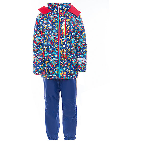 Комплект для мальчика BOOM by OrbyВерхняя одежда<br>Характеристики товара:<br><br>• цвет: синий<br>• курточка: верх - нейлон с мембранным покрытием 3000*3000, подкладка - поларфлис, полиэстер, утеплитель: FiberSoft 100 г/м2<br>• брюки: верх - нейлон с мембранным покрытием 3000*3000, подкладка - поларфлис<br>• комплектация: куртка, брюки<br>• температурный режим: от -5 С° до +10 С° <br>• эластичные регулируемые подтяжки<br>• застежка - молния<br>• куртка декорирована принтом<br>• капюшон<br>• силиконовые штрипки<br>• комфортная посадка<br>• страна производства: Российская Федерация<br>• страна бренда: Российская Федерация<br>• коллекция: весна-лето 2017<br><br>Такой комплект - универсальный вариант для межсезонья с постоянно меняющейся погодой. Эта модель - модная и удобная одновременно! Изделие отличается стильным ярким дизайном. Куртка и брюки хорошо сидят по фигуре, отлично сочетается с различной обувью. Модель была разработана специально для детей.<br><br>Одежда от российского бренда BOOM by Orby уже завоевала популярностью у многих детей и их родителей. Вещи, выпускаемые компанией, качественные, продуманные и очень удобные. Для производства коллекций используются только безопасные для детей материалы. Спешите приобрести модели из новой коллекции Весна-лето 2017! <br><br>Комплект для мальчика от бренда BOOM by Orby можно купить в нашем интернет-магазине.<br>Ширина мм: 356; Глубина мм: 10; Высота мм: 245; Вес г: 519; Цвет: синий; Возраст от месяцев: 24; Возраст до месяцев: 36; Пол: Мужской; Возраст: Детский; Размер: 80,122,116,98,110,92,104,86; SKU: 5342826;
