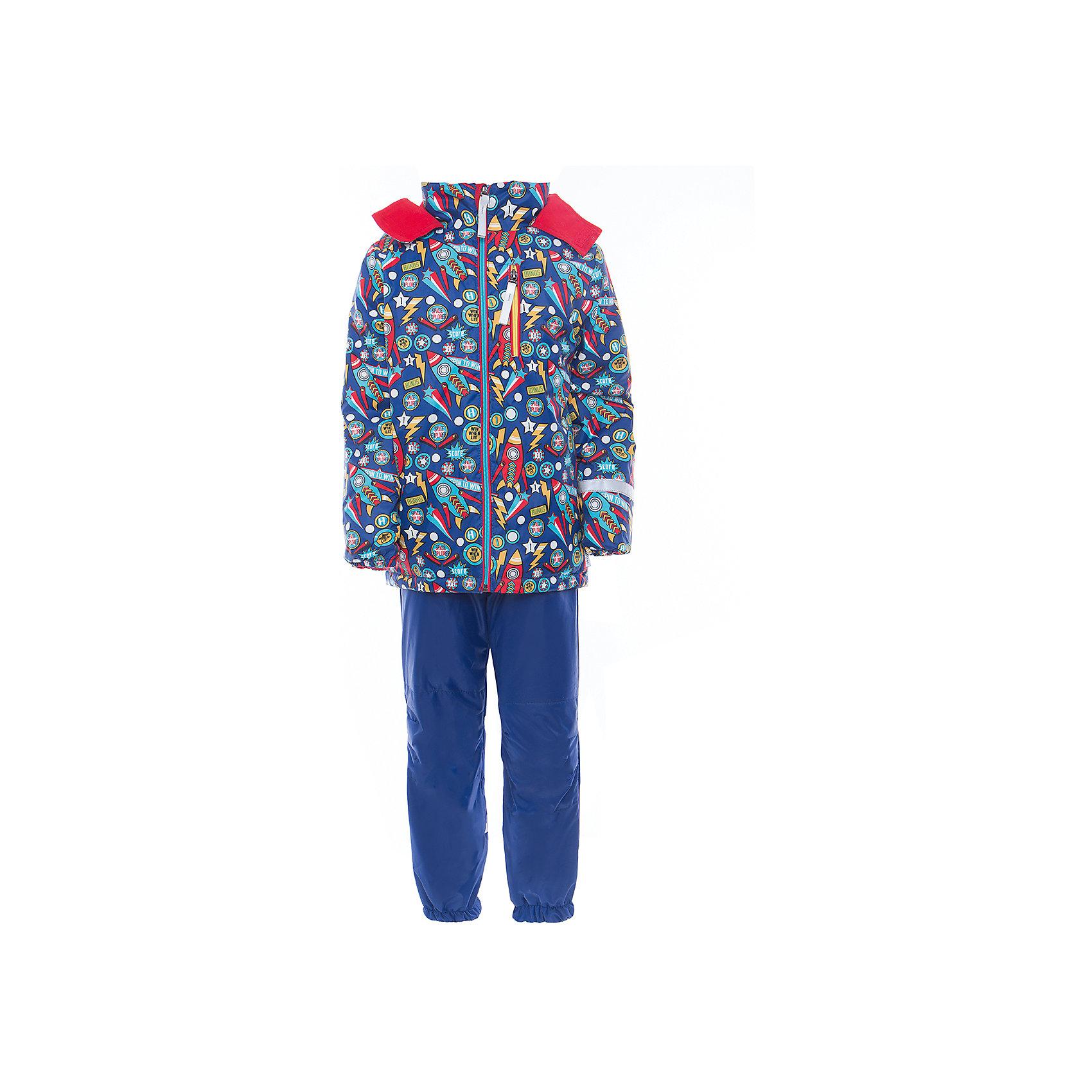 Комплект для мальчика BOOM by OrbyХарактеристики товара:<br><br>• цвет: синий<br>• курточка: верх - нейлон с мембранным покрытием 3000*3000, подкладка - поларфлис, полиэстер, утеплитель: FiberSoft 100 г/м2<br>• брюки: верх - нейлон с мембранным покрытием 3000*3000, подкладка - поларфлис<br>• комплектация: куртка, брюки<br>• температурный режим: от -5 С° до +10 С° <br>• эластичные регулируемые подтяжки<br>• застежка - молния<br>• куртка декорирована принтом<br>• капюшон<br>• силиконовые штрипки<br>• комфортная посадка<br>• страна производства: Российская Федерация<br>• страна бренда: Российская Федерация<br>• коллекция: весна-лето 2017<br><br>Такой комплект - универсальный вариант для межсезонья с постоянно меняющейся погодой. Эта модель - модная и удобная одновременно! Изделие отличается стильным ярким дизайном. Куртка и брюки хорошо сидят по фигуре, отлично сочетается с различной обувью. Модель была разработана специально для детей.<br><br>Одежда от российского бренда BOOM by Orby уже завоевала популярностью у многих детей и их родителей. Вещи, выпускаемые компанией, качественные, продуманные и очень удобные. Для производства коллекций используются только безопасные для детей материалы. Спешите приобрести модели из новой коллекции Весна-лето 2017! <br><br>Комплект для мальчика от бренда BOOM by Orby можно купить в нашем интернет-магазине.<br><br>Ширина мм: 356<br>Глубина мм: 10<br>Высота мм: 245<br>Вес г: 519<br>Цвет: синий<br>Возраст от месяцев: 60<br>Возраст до месяцев: 72<br>Пол: Мужской<br>Возраст: Детский<br>Размер: 122,116,80,86,104,92,98,110<br>SKU: 5342826