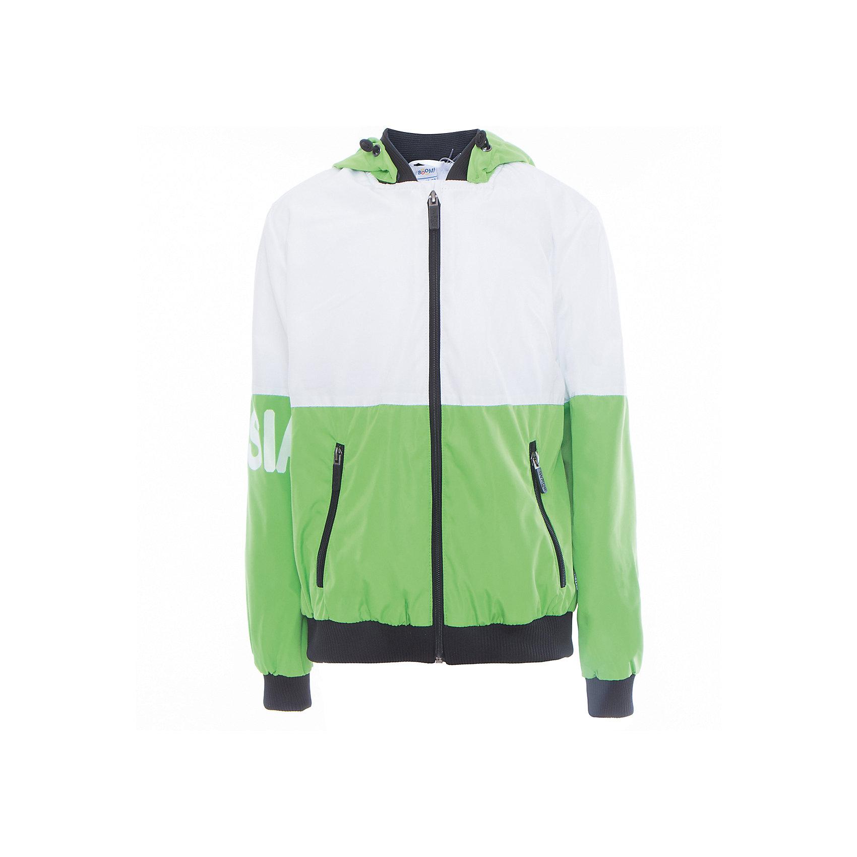 Куртка для мальчика BOOM by OrbyВерхняя одежда<br>Характеристики товара:<br><br>• цвет: зелёный<br>• состав: верх - Pronto pu, подкладка - полиэстер, флис, без утеплителя<br>• температурный режим: от +5°до +15°С<br>• демисезон<br>• капюшон<br>• застежка - молния<br>• эластичные манжеты<br>• принт<br>• карманы<br>• комфортная посадка<br>• страна производства: Российская Федерация<br>• страна бренда: Российская Федерация<br>• коллекция: весна-лето 2017<br><br>Такая куртка - универсальный вариант для теплого межсезонья с постоянно меняющейся погодой. Эта модель - модная и удобная одновременно! Изделие отличается стильным ярким дизайном. Куртка хорошо сидит по фигуре, отлично сочетается с различным низом. Вещь была разработана специально для детей.<br><br>Куртку для мальчика для девочки от бренда BOOM by Orby можно купить в нашем интернет-магазине.<br><br>Ширина мм: 356<br>Глубина мм: 10<br>Высота мм: 245<br>Вес г: 519<br>Цвет: зеленый<br>Возраст от месяцев: 144<br>Возраст до месяцев: 156<br>Пол: Мужской<br>Возраст: Детский<br>Размер: 158,104,110,98,116,122,128,134,140,146,152<br>SKU: 5342898