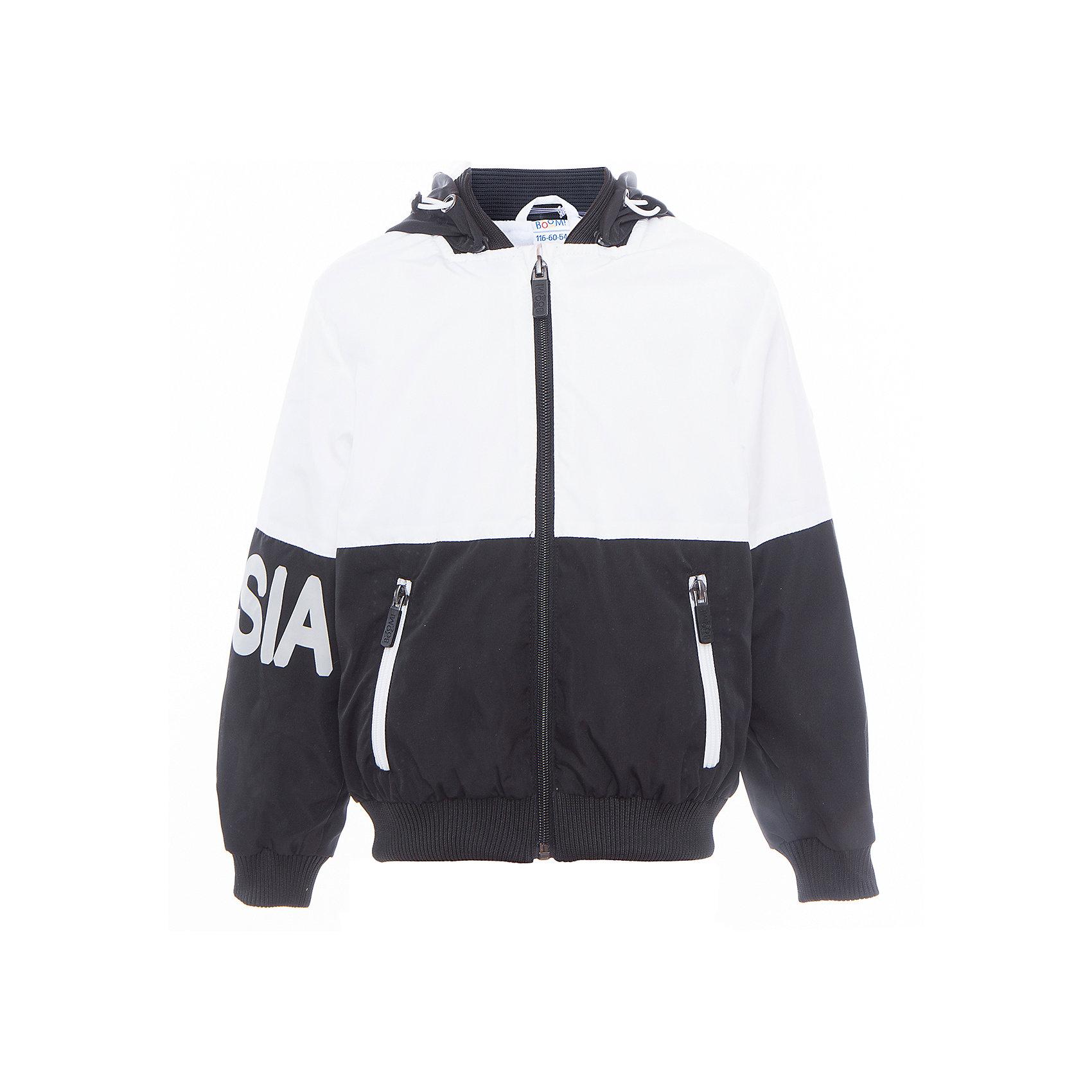 Куртка для мальчика BOOM by OrbyВерхняя одежда<br>Характеристики товара:<br><br>• цвет: чёрный/белый<br>• состав: верх - Pronto pu, подкладка - полиэстер, флис, без утеплителя<br>• температурный режим: от +5°до +15°С<br>• демисезон<br>• капюшон<br>• застежка - молния<br>• эластичные манжеты<br>• принт<br>• карманы<br>• комфортная посадка<br>• страна производства: Российская Федерация<br>• страна бренда: Российская Федерация<br>• коллекция: весна-лето 2017<br><br>Такая куртка - универсальный вариант для теплого межсезонья с постоянно меняющейся погодой. Эта модель - модная и удобная одновременно! Изделие отличается стильным ярким дизайном. Куртка хорошо сидит по фигуре, отлично сочетается с различным низом. Вещь была разработана специально для детей.<br><br>Куртку для мальчика для девочки от бренда BOOM by Orby можно купить в нашем интернет-магазине.<br><br>Ширина мм: 356<br>Глубина мм: 10<br>Высота мм: 245<br>Вес г: 519<br>Цвет: белый<br>Возраст от месяцев: 120<br>Возраст до месяцев: 132<br>Пол: Мужской<br>Возраст: Детский<br>Размер: 146,140,152,158,116,122,128,134<br>SKU: 5342910