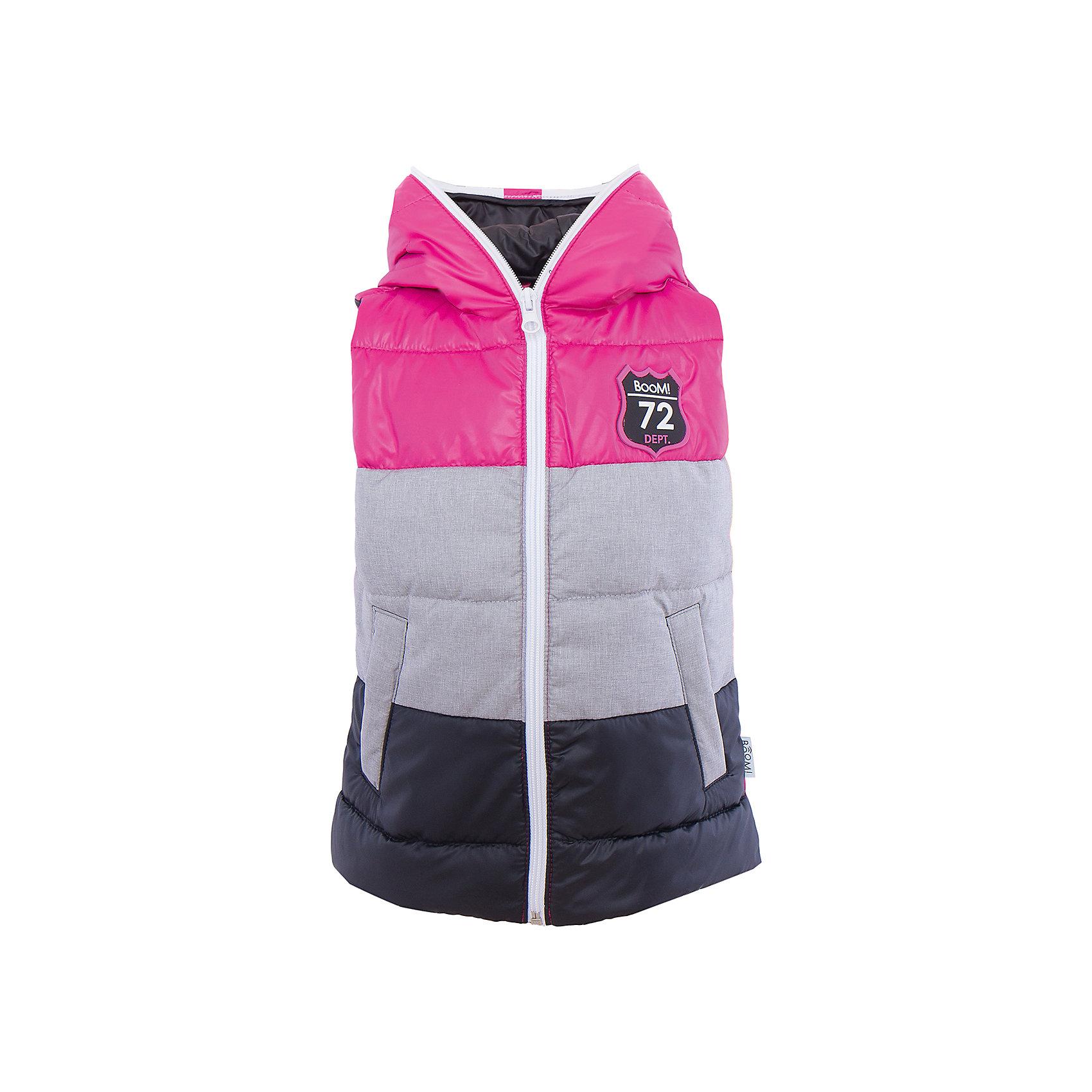 Жилет для девочки BOOM by OrbyВерхняя одежда<br>Характеристики товара:<br><br>• цвет: розовый/серый/черный<br>• состав: 100% полиэстер<br>• верхняя ткань:Болонь pu milky; 100% ПЭ<br>• подкладка: Поликоттон, ПЭ<br>• наполнитель: Эко-синтепон, 150гр/м2.<br>• температурный режим: от +15°до +5°С<br>• пропитка от промокания<br>• застежка - молния<br>• капюшон (не отстегивается)<br>• украшен нашивкой<br>• карманы<br>• комфортная посадка<br>• страна производства: Российская Федерация<br>• страна бренда: Российская Федерация<br>• коллекция: весна-лето 2017<br><br>Такой жилет - универсальный вариант и для прохладного летнего вечера, и для теплого межсезонья. Эта модель - модная и удобная одновременно! Изделие отличается стильным ярким дизайном. Жилет хорошо сидит по фигуре, отлично сочетается с различным низом. Вещь была разработана специально для детей.<br><br>Одежда от российского бренда BOOM by Orby уже завоевала популярностью у многих детей и их родителей. Вещи, выпускаемые компанией, качественные, продуманные и очень удобные. Для производства коллекций используются только безопасные для детей материалы. Спешите приобрести модели из новой коллекции Весна-лето 2017! <br><br>Жилет для девочки от бренда BOOM by Orby можно купить в нашем интернет-магазине.<br><br>Ширина мм: 356<br>Глубина мм: 10<br>Высота мм: 245<br>Вес г: 519<br>Цвет: серый<br>Возраст от месяцев: 132<br>Возраст до месяцев: 144<br>Пол: Женский<br>Возраст: Детский<br>Размер: 152,122,128,134,140,110,146,104,92,158,98,116<br>SKU: 5342919