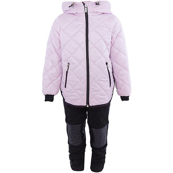 Комплект для девочки BOOM by OrbyВерхняя одежда<br>Характеристики товара:<br><br>• цвет: светло-розовый/черный<br>• состав: 100% полиэстер<br>• курточка: верх - таффета, подкладка - поликоттон, полиэстер, утеплитель: Flexy Fiber 150 г/м2<br>• брюки: верх - костюмный трикотаж с начесом, подкладка - флис<br>• комплектация: куртка, брюки<br>• температурный режим: от -5 С° до +10 С° <br>• капюшон (не отстегивается)<br>• карманы на молнии<br>• застежка - молния<br>• убирающаяся корона на капюшоне<br>• накладки на коленях<br>• куртка декорирована вышивкой<br>• эластичные манжеты<br>• комфортная посадка<br>• страна производства: Российская Федерация<br>• страна бренда: Российская Федерация<br>• коллекция: весна-лето 2017<br><br>Такой комплект - универсальный вариант для межсезонья с постоянно меняющейся погодой. Эта модель - модная и удобная одновременно! Изделие отличается стильным ярким дизайном. Куртка и брюки хорошо сидят по фигуре, отлично сочетается с различной обувью. Модель была разработана специально для детей.<br><br>Одежда от российского бренда BOOM by Orby уже завоевала популярностью у многих детей и их родителей. Вещи, выпускаемые компанией, качественные, продуманные и очень удобные. Для производства коллекций используются только безопасные для детей материалы. Спешите приобрести модели из новой коллекции Весна-лето 2017! <br><br>Комплект для девочки от бренда BOOM by Orby можно купить в нашем интернет-магазине.<br>Ширина мм: 356; Глубина мм: 10; Высота мм: 245; Вес г: 519; Цвет: розовый; Возраст от месяцев: 12; Возраст до месяцев: 18; Пол: Женский; Возраст: Детский; Размер: 86,104,122,116,110,98,92; SKU: 5343157;