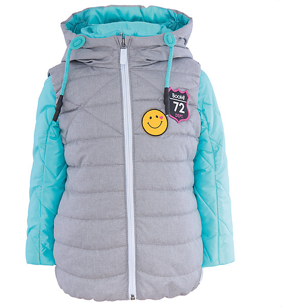 Куртка для девочки BOOM by OrbyВерхняя одежда<br>Характеристики товара:<br><br>• цвет: голубой/серый<br>• состав: 100% полиэстер<br>• курточка: верх - таффета, подкладка - поликоттон, полиэстер, утеплитель: Flexy Fiber 100 г/м2<br>• жилет: верх - таффета, подкладка - полиэстер, утеплитель: Flexy Fiber 150 г/м2<br>• комплектация: куртка, жилет<br>• температурный режим: от +15°до +5°С <br>• капюшон (не отстегивается)<br>• воротник-стойка<br>• застежка - молния<br>• модель-трансформер<br>• стеганая<br>• декорирована нашивками<br>• комфортная посадка<br>• страна производства: Российская Федерация<br>• страна бренда: Российская Федерация<br>• коллекция: весна-лето 2017<br><br><br>Куртка-трансформер с жилетом - универсальный вариант для межсезонья с постоянно меняющейся погодой. Эта модель - модная и удобная одновременно! Изделие отличается стильным ярким дизайном. Куртка хорошо сидит по фигуре, отлично сочетается с различным низом. Вещь была разработана специально для детей.<br><br>Одежда от российского бренда BOOM by Orby уже завоевала популярностью у многих детей и их родителей. Вещи, выпускаемые компанией, качественные, продуманные и очень удобные. Для производства коллекций используются только безопасные для детей материалы. Спешите приобрести модели из новой коллекции Весна-лето 2017! <br><br>Куртку для девочки от бренда BOOM by Orby можно купить в нашем интернет-магазине.<br><br>Ширина мм: 356<br>Глубина мм: 10<br>Высота мм: 245<br>Вес г: 519<br>Цвет: голубой<br>Возраст от месяцев: 60<br>Возраст до месяцев: 72<br>Пол: Женский<br>Возраст: Детский<br>Размер: 116,110,158,152,146,140,134,128,122,98,104<br>SKU: 5343173