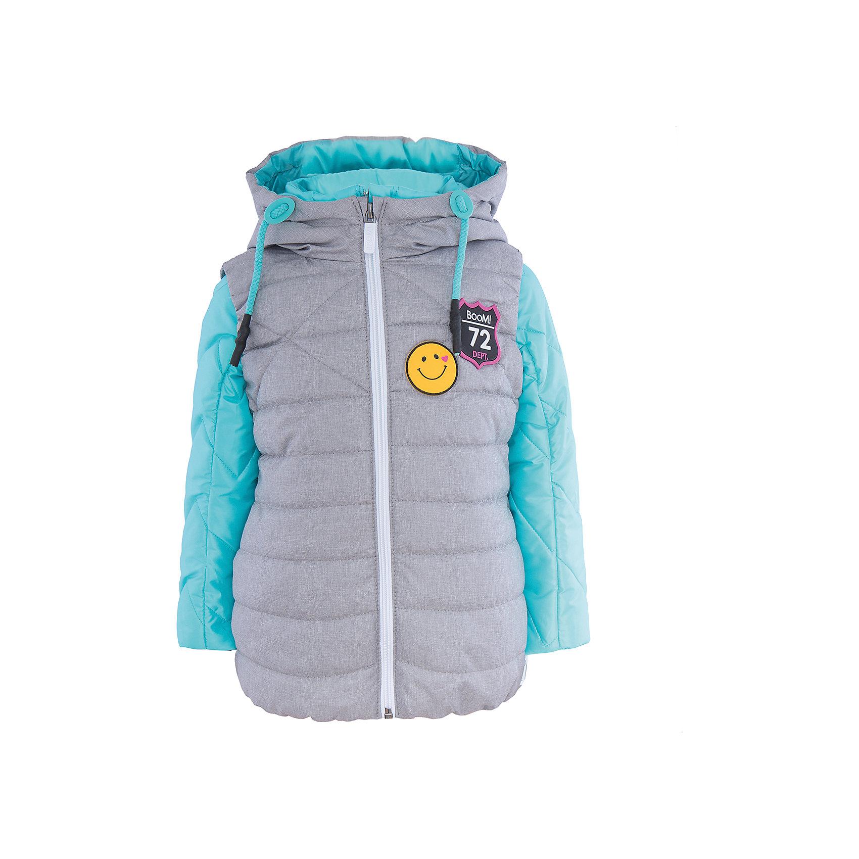 Куртка для девочки BOOM by OrbyВерхняя одежда<br>Характеристики товара:<br><br>• цвет: голубой/серый<br>• состав: 100% полиэстер<br>• курточка: верх - таффета, подкладка - поликоттон, полиэстер, утеплитель: Flexy Fiber 100 г/м2<br>• жилет: верх - таффета, подкладка - полиэстер, утеплитель: Flexy Fiber 150 г/м2<br>• комплектация: куртка, жилет<br>• температурный режим: от +15°до +5°С <br>• капюшон (не отстегивается)<br>• воротник-стойка<br>• застежка - молния<br>• модель-трансформер<br>• стеганая<br>• декорирована нашивками<br>• комфортная посадка<br>• страна производства: Российская Федерация<br>• страна бренда: Российская Федерация<br>• коллекция: весна-лето 2017<br><br><br>Куртка-трансформер с жилетом - универсальный вариант для межсезонья с постоянно меняющейся погодой. Эта модель - модная и удобная одновременно! Изделие отличается стильным ярким дизайном. Куртка хорошо сидит по фигуре, отлично сочетается с различным низом. Вещь была разработана специально для детей.<br><br>Одежда от российского бренда BOOM by Orby уже завоевала популярностью у многих детей и их родителей. Вещи, выпускаемые компанией, качественные, продуманные и очень удобные. Для производства коллекций используются только безопасные для детей материалы. Спешите приобрести модели из новой коллекции Весна-лето 2017! <br><br>Куртку для девочки от бренда BOOM by Orby можно купить в нашем интернет-магазине.<br><br>Ширина мм: 356<br>Глубина мм: 10<br>Высота мм: 245<br>Вес г: 519<br>Цвет: голубой<br>Возраст от месяцев: 24<br>Возраст до месяцев: 36<br>Пол: Женский<br>Возраст: Детский<br>Размер: 98,116,122,128,134,140,146,152,158,110,104<br>SKU: 5343173