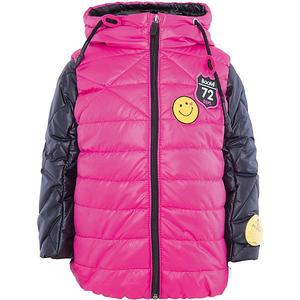 Куртка для девочки BOOM by OrbyВерхняя одежда<br>Характеристики товара:<br><br>• цвет: розовый/черный<br>• состав: 100% полиэстер<br>• курточка: верх - таффета, подкладка - поликоттон, полиэстер, утеплитель: Flexy Fiber 100 г/м2<br>• жилет: верх - таффета, подкладка - полиэстер, утеплитель: Flexy Fiber 150 г/м2<br>• комплектация: куртка, жилет<br>• температурный режим: от +15°до +5°С <br>• капюшон (не отстегивается)<br>• воротник-стойка<br>• застежка - молния<br>• модель-трансформер<br>• стеганая<br>• декорирована нашивками<br>• комфортная посадка<br>• страна производства: Российская Федерация<br>• страна бренда: Российская Федерация<br>• коллекция: весна-лето 2017<br><br>Куртка-трансформер с жилетом - универсальный вариант для межсезонья с постоянно меняющейся погодой. Эта модель - модная и удобная одновременно! Изделие отличается стильным ярким дизайном. Куртка хорошо сидит по фигуре, отлично сочетается с различным низом. Вещь была разработана специально для детей.<br><br>Одежда от российского бренда BOOM by Orby уже завоевала популярностью у многих детей и их родителей. Вещи, выпускаемые компанией, качественные, продуманные и очень удобные. Для производства коллекций используются только безопасные для детей материалы. Спешите приобрести модели из новой коллекции Весна-лето 2017! <br><br>Куртку для девочки от бренда BOOM by Orby можно купить в нашем интернет-магазине.<br><br>Ширина мм: 356<br>Глубина мм: 10<br>Высота мм: 245<br>Вес г: 519<br>Цвет: черный<br>Возраст от месяцев: 36<br>Возраст до месяцев: 48<br>Пол: Женский<br>Возраст: Детский<br>Размер: 104,158,152,146,140,134,128,122,116,98,110<br>SKU: 5343185