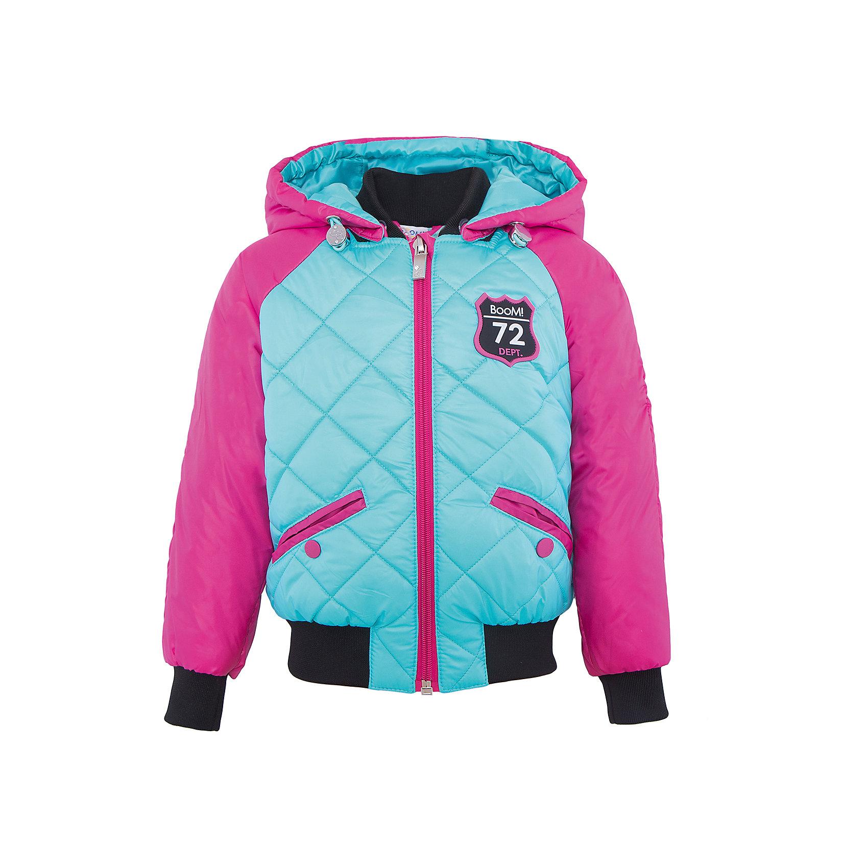 Куртка для девочки BOOM by OrbyВерхняя одежда<br>Характеристики товара:<br><br>• цвет: голубой/розовый<br>• ткань верха: Таффета oil cire PU стеганная; Таффета oil cire PU<br>• подкладка: Поликоттон, ПЭ пуходержащий; Отделка: Вязаное полотно.<br>• наполнитель: Flexy Fiber - это искусственный аналог лебяжьего пуха<br>• температурный режим: от 0 С° до +10 С° <br>• капюшон (отстегивающийся)<br>• карманы на кнопке<br>• застежка - молния<br>• эластичные манжеты<br>• стеганая<br>• декорирована нашивками<br>• комфортная посадка<br>• страна производства: Российская Федерация<br>• страна бренда: Российская Федерация<br>• коллекция: весна-лето 2017<br><br>Куртка-бомбер - универсальный вариант для межсезонья с постоянно меняющейся погодой. Эта модель - модная и удобная одновременно! Изделие отличается стильным ярким дизайном. Куртка хорошо сидит по фигуре, отлично сочетается с различным низом. Вещь была разработана специально для детей.<br><br>Одежда от российского бренда BOOM by Orby уже завоевала популярностью у многих детей и их родителей. Вещи, выпускаемые компанией, качественные, продуманные и очень удобные. Для производства коллекций используются только безопасные для детей материалы. Спешите приобрести модели из новой коллекции Весна-лето 2017! <br><br>Куртку для девочки от бренда BOOM by Orby можно купить в нашем интернет-магазине.<br><br>Ширина мм: 356<br>Глубина мм: 10<br>Высота мм: 245<br>Вес г: 519<br>Цвет: голубой<br>Возраст от месяцев: 36<br>Возраст до месяцев: 48<br>Пол: Женский<br>Возраст: Детский<br>Размер: 104,170,164,158,152,146,140,134,128,122,116,110,98,92,86<br>SKU: 5343197