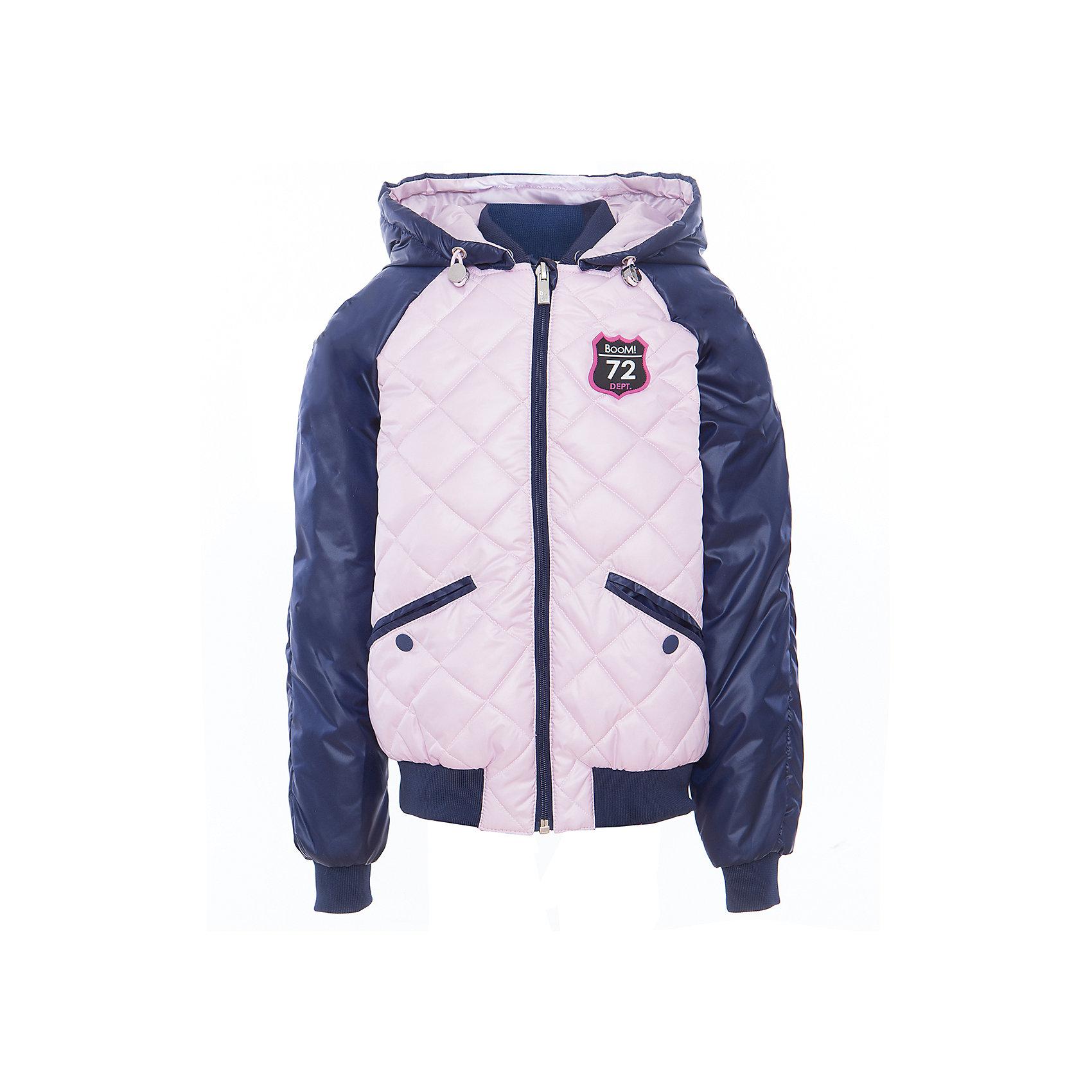 Куртка для девочки BOOM by OrbyВерхняя одежда<br>Характеристики товара:<br><br>• цвет: розовый/синий<br>• ткань верха: Таффета oil cire PU стеганная; Таффета oil cire PU<br>• подкладка: Поликоттон, ПЭ пуходержащий; Отделка: Вязаное полотно.<br>• наполнитель: Flexy Fiber - это искусственный аналог лебяжьего пуха<br>• температурный режим: от 0 С° до +10 С° <br>• капюшон (отстегивающийся)<br>• карманы на кнопке<br>• застежка - молния<br>• эластичные манжеты<br>• стеганая<br>• декорирована нашивками<br>• комфортная посадка<br>• страна производства: Российская Федерация<br>• страна бренда: Российская Федерация<br>• коллекция: весна-лето 2017<br><br>Куртка-бомбер - универсальный вариант для межсезонья с постоянно меняющейся погодой. Эта модель - модная и удобная одновременно! Изделие отличается стильным ярким дизайном. Куртка хорошо сидит по фигуре, отлично сочетается с различным низом. Вещь была разработана специально для детей.<br><br>Одежда от российского бренда BOOM by Orby уже завоевала популярностью у многих детей и их родителей. Вещи, выпускаемые компанией, качественные, продуманные и очень удобные. Для производства коллекций используются только безопасные для детей материалы. Спешите приобрести модели из новой коллекции Весна-лето 2017! <br><br>Куртку для девочки от бренда BOOM by Orby можно купить в нашем интернет-магазине.<br><br>Ширина мм: 356<br>Глубина мм: 10<br>Высота мм: 245<br>Вес г: 519<br>Цвет: синий<br>Возраст от месяцев: 48<br>Возраст до месяцев: 60<br>Пол: Женский<br>Возраст: Детский<br>Размер: 116,92,98,122,128,134,140,146,152,158,164,110,170,104,86<br>SKU: 5343229