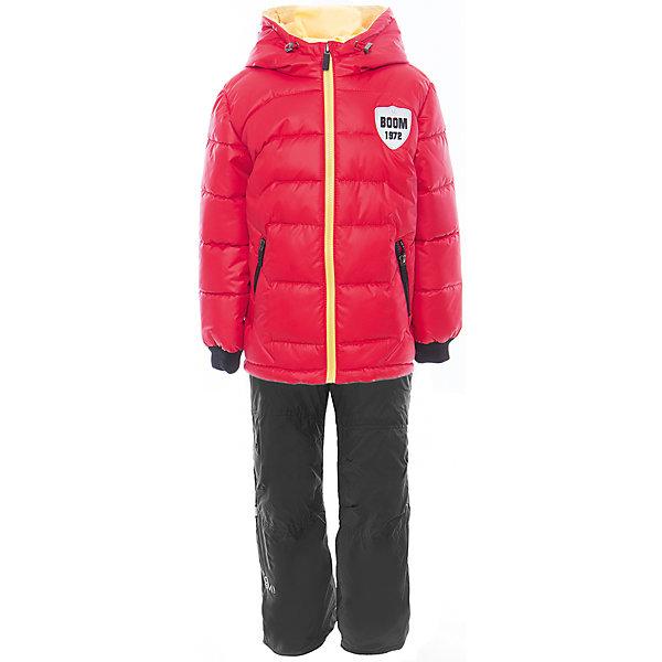 Комплект для мальчика BOOM by OrbyВерхняя одежда<br>Характеристики товара:<br><br>• цвет: красный<br>• состав: <br>курточка: верх - таффета, болонь, подкладка - поликоттон, полиэстер, утеплитель: Flexy Fiber 150 г/м2<br>брюки: подкладка - флис<br>• комплектация: куртка, брюки<br>• температурный режим: от -5 С° до +10 С° <br>• карманы<br>• застежка - молния<br>• куртка декорирована вышивкой<br>• эластичные манжеты<br>• комфортная посадка<br>• страна производства: Российская Федерация<br>• страна бренда: Российская Федерация<br>• коллекция: весна-лето 2017<br><br>Такой комплект - универсальный вариант для межсезонья с постоянно меняющейся погодой. Эта модель - модная и удобная одновременно! Изделие отличается стильным ярким дизайном. Куртка и брюки хорошо сидят по фигуре, отлично сочетается с различной обувью. Модель была разработана специально для детей.<br><br>Одежда от российского бренда BOOM by Orby уже завоевала популярностью у многих детей и их родителей. Вещи, выпускаемые компанией, качественные, продуманные и очень удобные. Для производства коллекций используются только безопасные для детей материалы. Спешите приобрести модели из новой коллекции Весна-лето 2017! <br><br>Комплект для мальчика от бренда BOOM by Orby можно купить в нашем интернет-магазине.<br><br>Ширина мм: 356<br>Глубина мм: 10<br>Высота мм: 245<br>Вес г: 519<br>Цвет: красный<br>Возраст от месяцев: 18<br>Возраст до месяцев: 24<br>Пол: Мужской<br>Возраст: Детский<br>Размер: 92,98,110,116,122,104,86<br>SKU: 5343382