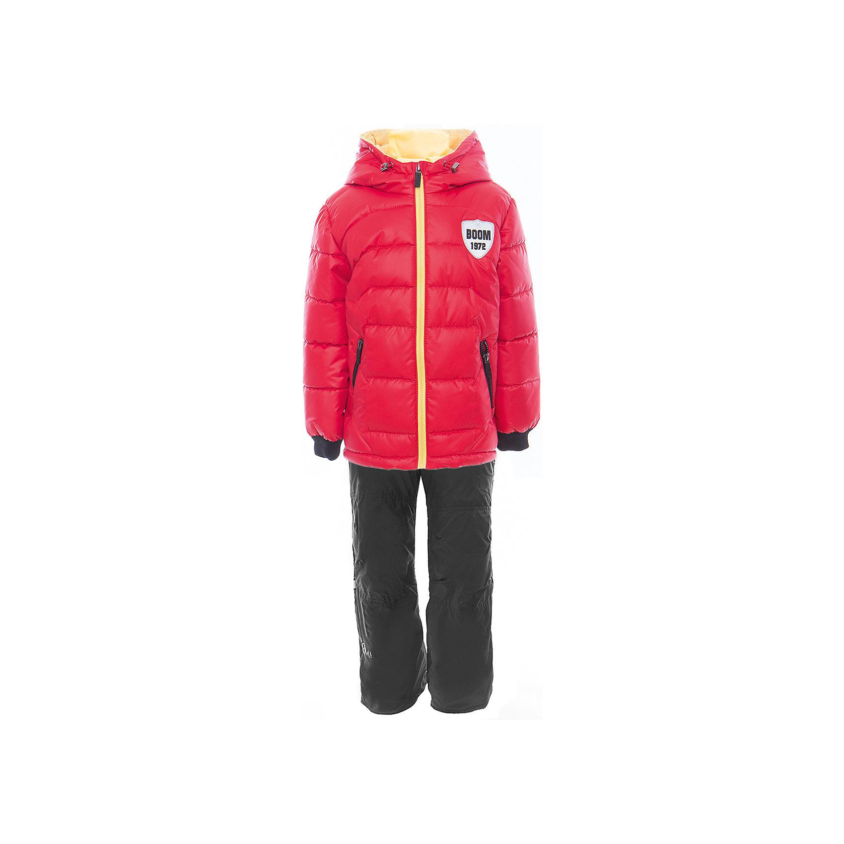 Комплект для мальчика BOOM by OrbyВерхняя одежда<br>Характеристики товара:<br><br>• цвет: красный<br>• состав: <br>курточка: верх - таффета, болонь, подкладка - поликоттон, полиэстер, утеплитель: Flexy Fiber 150 г/м2<br>брюки: подкладка - флис<br>• комплектация: куртка, брюки<br>• температурный режим: от -5 С° до +10 С° <br>• карманы<br>• застежка - молния<br>• куртка декорирована вышивкой<br>• эластичные манжеты<br>• комфортная посадка<br>• страна производства: Российская Федерация<br>• страна бренда: Российская Федерация<br>• коллекция: весна-лето 2017<br><br>Такой комплект - универсальный вариант для межсезонья с постоянно меняющейся погодой. Эта модель - модная и удобная одновременно! Изделие отличается стильным ярким дизайном. Куртка и брюки хорошо сидят по фигуре, отлично сочетается с различной обувью. Модель была разработана специально для детей.<br><br>Одежда от российского бренда BOOM by Orby уже завоевала популярностью у многих детей и их родителей. Вещи, выпускаемые компанией, качественные, продуманные и очень удобные. Для производства коллекций используются только безопасные для детей материалы. Спешите приобрести модели из новой коллекции Весна-лето 2017! <br><br>Комплект для мальчика от бренда BOOM by Orby можно купить в нашем интернет-магазине.<br><br>Ширина мм: 356<br>Глубина мм: 10<br>Высота мм: 245<br>Вес г: 519<br>Цвет: красный<br>Возраст от месяцев: 72<br>Возраст до месяцев: 84<br>Пол: Мужской<br>Возраст: Детский<br>Размер: 122,104,86,92,98,110,116<br>SKU: 5343382