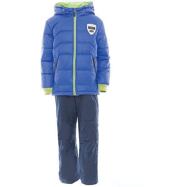 Комплект для мальчика BOOM by OrbyВерхняя одежда<br>Характеристики товара:<br><br>• цвет: синий<br>• состав: <br>курточка: верх - таффета, болонь, подкладка - поликоттон, полиэстер, утеплитель: Flexy Fiber 150 г/м2<br>брюки: подкладка - флис<br>• комплектация: куртка, брюки<br>• температурный режим: от -5 С° до +10 С° <br>• карманы<br>• застежка - молния<br>• куртка декорирована вышивкой<br>• эластичные манжеты<br>• комфортная посадка<br>• страна производства: Российская Федерация<br>• страна бренда: Российская Федерация<br>• коллекция: весна-лето 2017<br><br>Такой комплект - универсальный вариант для межсезонья с постоянно меняющейся погодой. Эта модель - модная и удобная одновременно! Изделие отличается стильным ярким дизайном. Куртка и брюки хорошо сидят по фигуре, отлично сочетается с различной обувью. Модель была разработана специально для детей.<br><br>Одежда от российского бренда BOOM by Orby уже завоевала популярностью у многих детей и их родителей. Вещи, выпускаемые компанией, качественные, продуманные и очень удобные. Для производства коллекций используются только безопасные для детей материалы. Спешите приобрести модели из новой коллекции Весна-лето 2017! <br><br>Комплект для мальчика от бренда BOOM by Orby можно купить в нашем интернет-магазине.<br><br>Ширина мм: 356<br>Глубина мм: 10<br>Высота мм: 245<br>Вес г: 519<br>Цвет: синий<br>Возраст от месяцев: 48<br>Возраст до месяцев: 60<br>Пол: Мужской<br>Возраст: Детский<br>Размер: 110,104,122,116,98,92,86<br>SKU: 5343390