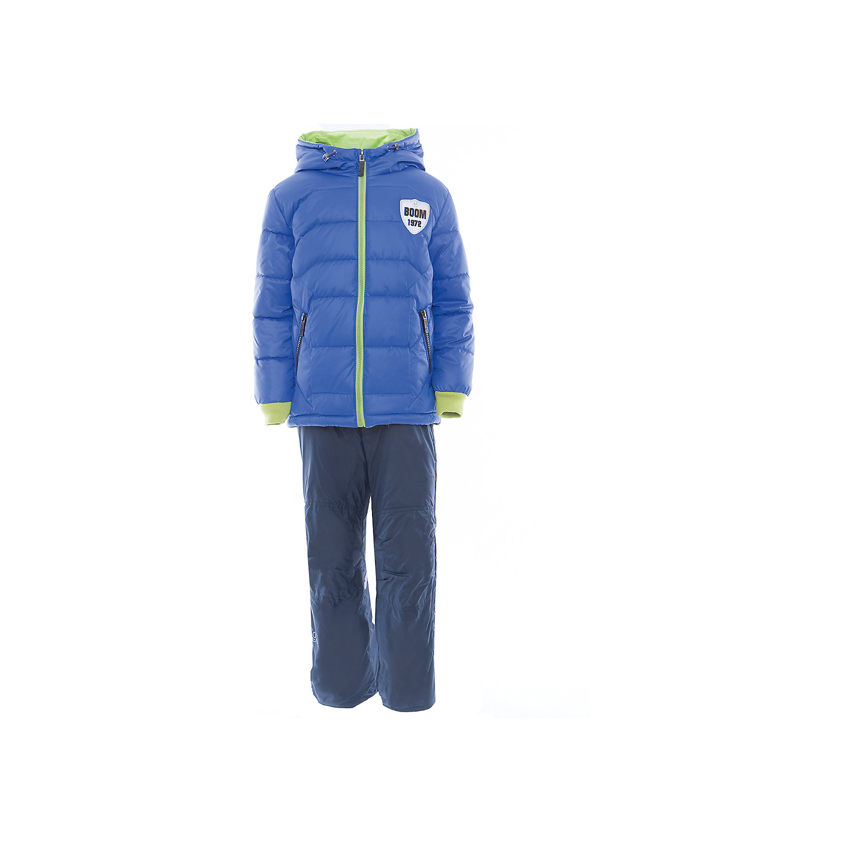 Комплект для мальчика BOOM by OrbyВерхняя одежда<br>Характеристики товара:<br><br>• цвет: синий<br>• состав: <br>курточка: верх - таффета, болонь, подкладка - поликоттон, полиэстер, утеплитель: Flexy Fiber 150 г/м2<br>брюки: подкладка - флис<br>• комплектация: куртка, брюки<br>• температурный режим: от -5 С° до +10 С° <br>• карманы<br>• застежка - молния<br>• куртка декорирована вышивкой<br>• эластичные манжеты<br>• комфортная посадка<br>• страна производства: Российская Федерация<br>• страна бренда: Российская Федерация<br>• коллекция: весна-лето 2017<br><br>Такой комплект - универсальный вариант для межсезонья с постоянно меняющейся погодой. Эта модель - модная и удобная одновременно! Изделие отличается стильным ярким дизайном. Куртка и брюки хорошо сидят по фигуре, отлично сочетается с различной обувью. Модель была разработана специально для детей.<br><br>Одежда от российского бренда BOOM by Orby уже завоевала популярностью у многих детей и их родителей. Вещи, выпускаемые компанией, качественные, продуманные и очень удобные. Для производства коллекций используются только безопасные для детей материалы. Спешите приобрести модели из новой коллекции Весна-лето 2017! <br><br>Комплект для мальчика от бренда BOOM by Orby можно купить в нашем интернет-магазине.<br><br>Ширина мм: 356<br>Глубина мм: 10<br>Высота мм: 245<br>Вес г: 519<br>Цвет: синий<br>Возраст от месяцев: 60<br>Возраст до месяцев: 72<br>Пол: Мужской<br>Возраст: Детский<br>Размер: 116,122,104,86,92,98,110<br>SKU: 5343390