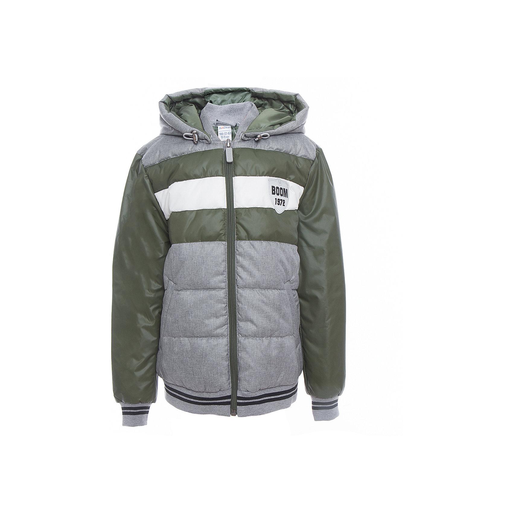 Куртка для мальчика BOOM by OrbyВерхняя одежда<br>Характеристики товара:<br><br>• цвет: серый/зелёный<br>• состав: верх - таффета, болонь, подкладка - поликоттон, полиэстер, утеплитель: Flexy Fiber 150 г/м2<br>• температурный режим: от -5 С° до +10 С° <br>• капюшон<br>• застежка - молния<br>• эластичные манжеты<br>• стеганая<br>• декорирована нашивками<br>• комфортная посадка<br>• страна производства: Российская Федерация<br>• страна бренда: Российская Федерация<br>• коллекция: весна-лето 2017<br><br>Куртка-бомбер - универсальный вариант для межсезонья с постоянно меняющейся погодой. Эта модель - модная и удобная одновременно! Изделие отличается стильным ярким дизайном. Куртка хорошо сидит по фигуре, отлично сочетается с различным низом. Вещь была разработана специально для детей.<br><br>Одежда от российского бренда BOOM by Orby уже завоевала популярностью у многих детей и их родителей. Вещи, выпускаемые компанией, качественные, продуманные и очень удобные. Для производства коллекций используются только безопасные для детей материалы. Спешите приобрести модели из новой коллекции Весна-лето 2017! <br><br>Куртку для мальчика от бренда BOOM by Orby можно купить в нашем интернет-магазине.<br><br>Ширина мм: 356<br>Глубина мм: 10<br>Высота мм: 245<br>Вес г: 519<br>Цвет: серый<br>Возраст от месяцев: 108<br>Возраст до месяцев: 120<br>Пол: Мужской<br>Возраст: Детский<br>Размер: 140,170,104,86,92,98,110,116,122,128,134,146,152,158,164<br>SKU: 5343406