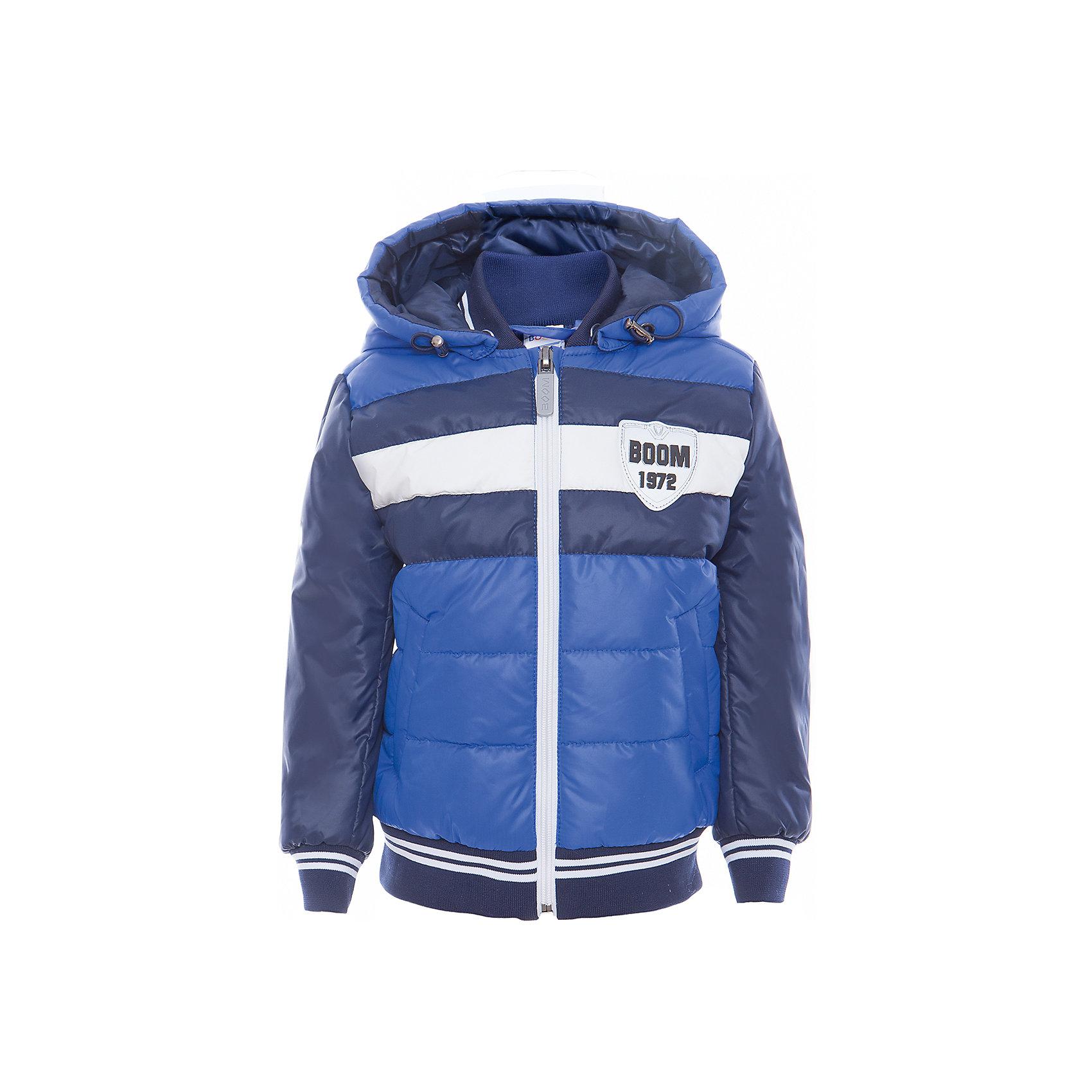 Куртка для мальчика BOOM by OrbyВерхняя одежда<br>Характеристики товара:<br><br>• цвет: синий<br>• состав: верх - таффета, болонь, подкладка - поликоттон, полиэстер, утеплитель: Flexy Fiber 150 г/м2<br>• температурный режим: от -5 С° до +10 С° <br>• капюшон<br>• застежка - молния<br>• эластичные манжеты<br>• стеганая<br>• декорирована нашивками<br>• комфортная посадка<br>• страна производства: Российская Федерация<br>• страна бренда: Российская Федерация<br>• коллекция: весна-лето 2017<br><br>Куртка-бомбер - универсальный вариант для межсезонья с постоянно меняющейся погодой. Эта модель - модная и удобная одновременно! Изделие отличается стильным ярким дизайном. Куртка хорошо сидит по фигуре, отлично сочетается с различным низом. Вещь была разработана специально для детей.<br><br>Одежда от российского бренда BOOM by Orby уже завоевала популярностью у многих детей и их родителей. Вещи, выпускаемые компанией, качественные, продуманные и очень удобные. Для производства коллекций используются только безопасные для детей материалы. Спешите приобрести модели из новой коллекции Весна-лето 2017! <br><br>Куртку для мальчика от бренда BOOM by Orby можно купить в нашем интернет-магазине.<br><br>Ширина мм: 356<br>Глубина мм: 10<br>Высота мм: 245<br>Вес г: 519<br>Цвет: синий<br>Возраст от месяцев: 12<br>Возраст до месяцев: 18<br>Пол: Мужской<br>Возраст: Детский<br>Размер: 86,164,170,104,92,98,110,116,122,128,134,140,146,152,158<br>SKU: 5343422