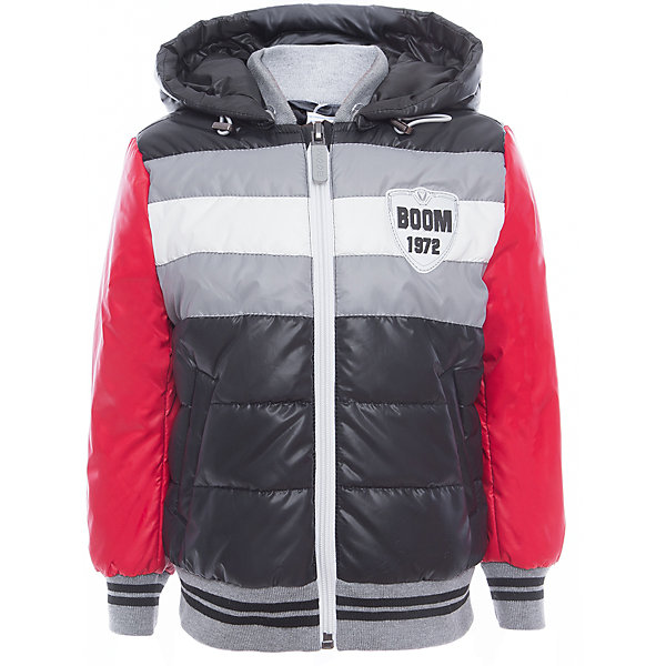 Куртка для мальчика BOOM by OrbyВерхняя одежда<br>Характеристики товара:<br><br>• цвет: чёрный/серый/красный<br>• состав: верх - таффета, болонь, подкладка - поликоттон, полиэстер, утеплитель: Flexy Fiber 150 г/м2<br>• температурный режим: от -5 С° до +10 С° <br>• капюшон<br>• застежка - молния<br>• эластичные манжеты<br>• стеганая<br>• декорирована нашивками<br>• комфортная посадка<br>• страна производства: Российская Федерация<br>• страна бренда: Российская Федерация<br>• коллекция: весна-лето 2017<br><br>Куртка-бомбер - универсальный вариант для межсезонья с постоянно меняющейся погодой. Эта модель - модная и удобная одновременно! Изделие отличается стильным ярким дизайном. Куртка хорошо сидит по фигуре, отлично сочетается с различным низом. Вещь была разработана специально для детей.<br><br>Одежда от российского бренда BOOM by Orby уже завоевала популярностью у многих детей и их родителей. Вещи, выпускаемые компанией, качественные, продуманные и очень удобные. Для производства коллекций используются только безопасные для детей материалы. Спешите приобрести модели из новой коллекции Весна-лето 2017! <br><br>Куртку для мальчика от бренда BOOM by Orby можно купить в нашем интернет-магазине.<br>Ширина мм: 356; Глубина мм: 10; Высота мм: 245; Вес г: 519; Цвет: черный; Возраст от месяцев: 48; Возраст до месяцев: 60; Пол: Мужской; Возраст: Детский; Размер: 110,104,170,164,158,152,146,140,134,128,122,116,98,92,86; SKU: 5343438;
