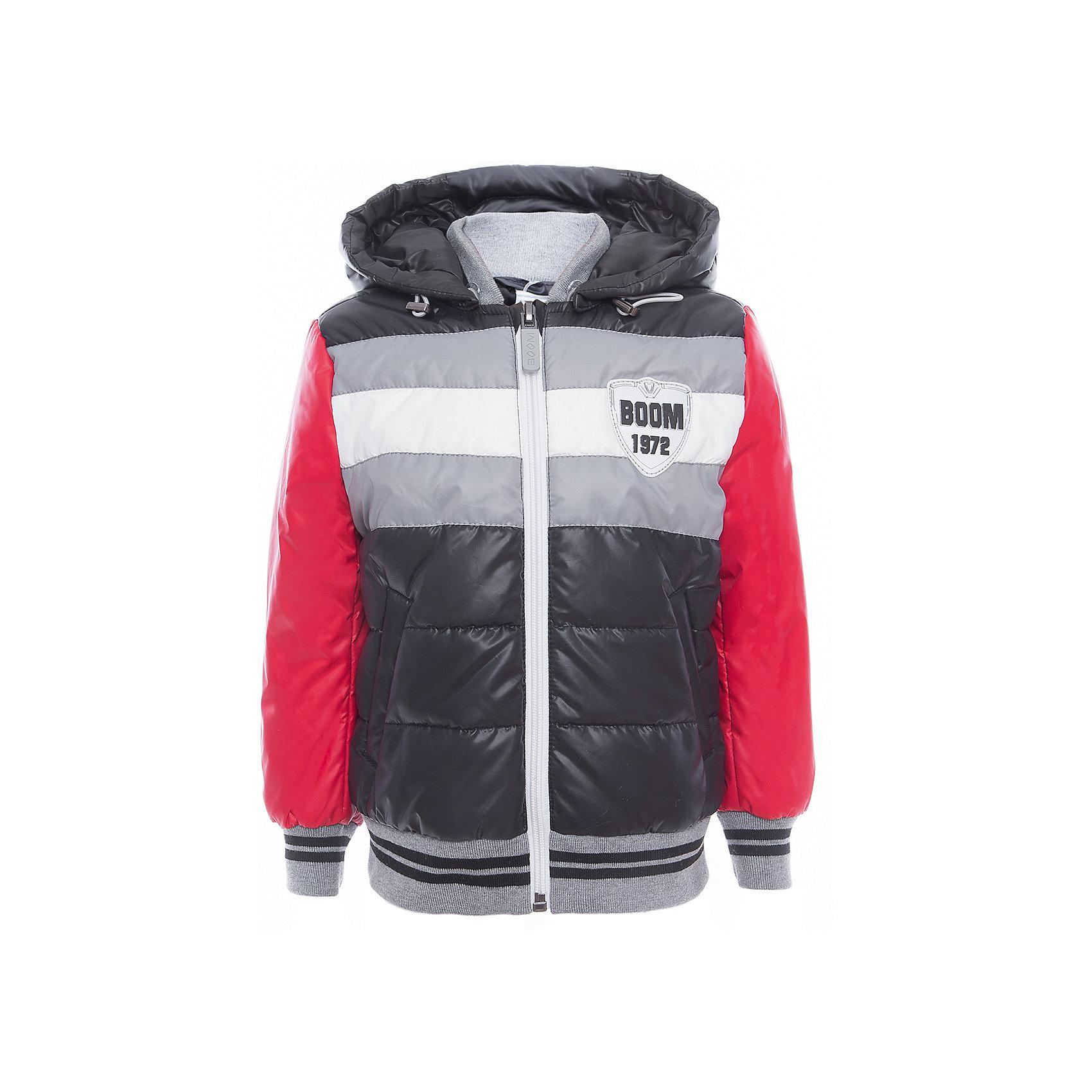 Куртка для мальчика BOOM by OrbyВерхняя одежда<br>Характеристики товара:<br><br>• цвет: чёрный/серый/красный<br>• состав: верх - таффета, болонь, подкладка - поликоттон, полиэстер, утеплитель: Flexy Fiber 150 г/м2<br>• температурный режим: от -5 С° до +10 С° <br>• капюшон<br>• застежка - молния<br>• эластичные манжеты<br>• стеганая<br>• декорирована нашивками<br>• комфортная посадка<br>• страна производства: Российская Федерация<br>• страна бренда: Российская Федерация<br>• коллекция: весна-лето 2017<br><br>Куртка-бомбер - универсальный вариант для межсезонья с постоянно меняющейся погодой. Эта модель - модная и удобная одновременно! Изделие отличается стильным ярким дизайном. Куртка хорошо сидит по фигуре, отлично сочетается с различным низом. Вещь была разработана специально для детей.<br><br>Одежда от российского бренда BOOM by Orby уже завоевала популярностью у многих детей и их родителей. Вещи, выпускаемые компанией, качественные, продуманные и очень удобные. Для производства коллекций используются только безопасные для детей материалы. Спешите приобрести модели из новой коллекции Весна-лето 2017! <br><br>Куртку для мальчика от бренда BOOM by Orby можно купить в нашем интернет-магазине.<br><br>Ширина мм: 356<br>Глубина мм: 10<br>Высота мм: 245<br>Вес г: 519<br>Цвет: черный<br>Возраст от месяцев: 36<br>Возраст до месяцев: 48<br>Пол: Мужской<br>Возраст: Детский<br>Размер: 104,158,164,170,86,92,98,110,116,122,128,134,140,146,152<br>SKU: 5343438