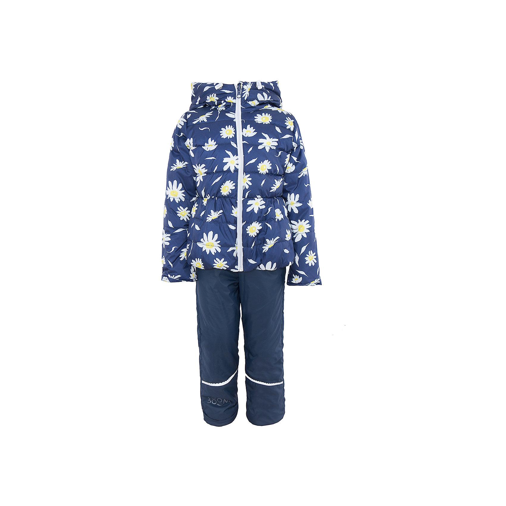 Комплект для девочки BOOM by OrbyВерхняя одежда<br>Характеристики товара:<br><br>• цвет: синий<br>• состав: <br>курточка: верх - таффета, подкладка - поликоттон, полиэстер, утеплитель: эко-синтепон 150 г/м2<br>брюки: верх - таффета, подкладка - флис<br>• комплектация: куртка, брюки<br>• температурный режим: от -5 С° до +10 С° <br>• из непромокаемой ткани, с водо и грязеотталкивающими пропитками<br>• застежка - молния<br>• благодаря манжетам-отворотам значительно регулируется размер<br>• куртка декорирована принтом<br>• комфортная посадка<br>• страна производства: Российская Федерация<br>• страна бренда: Российская Федерация<br>• коллекция: весна-лето 2017<br><br>Такой комплект - универсальный вариант для межсезонья с постоянно меняющейся погодой. Эта модель - модная и удобная одновременно! Изделие отличается стильным ярким дизайном. Куртка и брюки хорошо сидят по фигуре, отлично сочетается с различной обувью. Модель была разработана специально для детей.<br><br>Одежда от российского бренда BOOM by Orby уже завоевала популярностью у многих детей и их родителей. Вещи, выпускаемые компанией, качественные, продуманные и очень удобные. Для производства коллекций используются только безопасные для детей материалы. Спешите приобрести модели из новой коллекции Весна-лето 2017! <br><br>Комплект для девочки от бренда BOOM by Orby можно купить в нашем интернет-магазине.<br><br>Ширина мм: 356<br>Глубина мм: 10<br>Высота мм: 245<br>Вес г: 519<br>Цвет: синий<br>Возраст от месяцев: 18<br>Возраст до месяцев: 24<br>Пол: Женский<br>Возраст: Детский<br>Размер: 92,116,122,104,86,98,110<br>SKU: 5343630