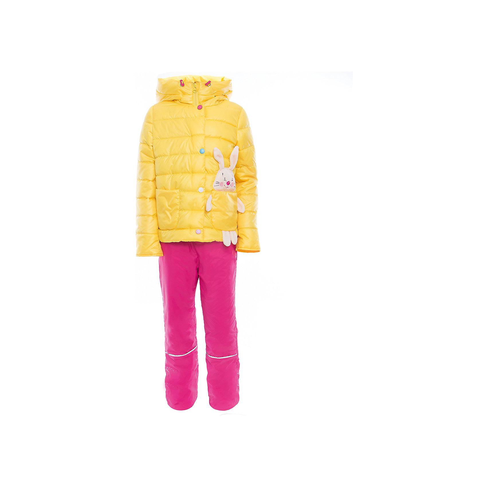 Комплект для девочки BOOM by OrbyХарактеристики товара:<br><br>• цвет: желтый/розовый<br>• состав: <br>курточка: верх - таффета, подкладка - поликоттон, полиэстер, утеплитель: эко-синтепон 150 г/м2<br>брюки: верх - таффета, подкладка - флис<br>• комплектация: куртка, брюки<br>• температурный режим: от -5 С° до +10 С° <br>• из прочной ткани<br>• застежка - молния<br>• благодаря манжетам-отворотам значительно регулируется размер<br>• оригинальный декор<br>• карманы<br>• комфортная посадка<br>• страна производства: Российская Федерация<br>• страна бренда: Российская Федерация<br>• коллекция: весна-лето 2017<br><br>Такой комплект - универсальный вариант для межсезонья с постоянно меняющейся погодой. Эта модель - модная и удобная одновременно! Изделие отличается стильным ярким дизайном. Куртка и брюки хорошо сидят по фигуре, отлично сочетается с различной обувью. Модель была разработана специально для детей.<br><br>Одежда от российского бренда BOOM by Orby уже завоевала популярностью у многих детей и их родителей. Вещи, выпускаемые компанией, качественные, продуманные и очень удобные. Для производства коллекций используются только безопасные для детей материалы. Спешите приобрести модели из новой коллекции Весна-лето 2017! <br><br>Комплект для девочки от бренда BOOM by Orby можно купить в нашем интернет-магазине.<br><br>Ширина мм: 356<br>Глубина мм: 10<br>Высота мм: 245<br>Вес г: 519<br>Цвет: желтый<br>Возраст от месяцев: 72<br>Возраст до месяцев: 84<br>Пол: Женский<br>Возраст: Детский<br>Размер: 122,104,86,92,98,110,116<br>SKU: 5343654