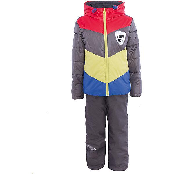 Комплект для мальчика BOOM by OrbyВерхняя одежда<br>Характеристики товара:<br><br>• цвет: серый/красный/желтый/синий<br>• состав: <br>курточка: верх - болонь, подкладка - поликоттон, полиэстер, утеплитель: эко-синтепон 150 г/м2<br>брюки: верх - таффета, подкладка - флис<br>• комплектация: куртка, брюки<br>• температурный режим: от -5 С° до +10 С° <br>• из непромокаемой ткани, с водо и грязеотталкивающими пропитками<br>• капюшон с утяжкой, не отстёгивается<br>• застежка - молния<br>• куртка декорирована нашивкой<br>• отвороты помогают заметно трансформировать размер<br>• комфортная посадка<br>• страна производства: Российская Федерация<br>• страна бренда: Российская Федерация<br>• коллекция: весна-лето 2017<br><br>Такой комплект - универсальный вариант для межсезонья с постоянно меняющейся погодой. Эта модель - модная и удобная одновременно! Изделие отличается стильным ярким дизайном. Куртка и брюки хорошо сидят по фигуре, отлично сочетается с различной обувью. Модель была разработана специально для детей.<br><br>Одежда от российского бренда BOOM by Orby уже завоевала популярностью у многих детей и их родителей. Вещи, выпускаемые компанией, качественные, продуманные и очень удобные. Для производства коллекций используются только безопасные для детей материалы. Спешите приобрести модели из новой коллекции Весна-лето 2017! <br><br>Комплект для мальчика от бренда BOOM by Orby можно купить в нашем интернет-магазине.<br><br>Ширина мм: 356<br>Глубина мм: 10<br>Высота мм: 245<br>Вес г: 519<br>Цвет: красный<br>Возраст от месяцев: 18<br>Возраст до месяцев: 24<br>Пол: Мужской<br>Возраст: Детский<br>Размер: 92,104,122,116,110,98,86<br>SKU: 5343997