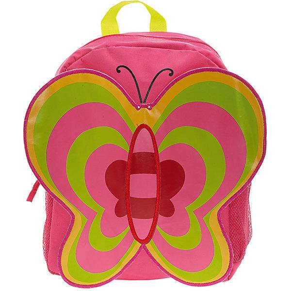 Рюкзак Бабочка, цвет фуксия с зеленымАксессуары<br>Идеально подходят для хранения важных и необходимых вещей, которые так необходимы маленькой принцессе на детской площадке, во время прогулки или на пикнике. Сделан из прочного, износоустойчивого полиэстера. Просторный внутренний отсек будет очень удобен в использовании. Лицевая  сторона рюкзака выполнена в форме объемной бабочки с большими привлекательными крылышками. Отлично подходит для детей от 2-х до 5-ти лет.<br><br>Ширина мм: 33<br>Глубина мм: 26<br>Высота мм: 12<br>Вес г: 500<br>Возраст от месяцев: 36<br>Возраст до месяцев: 84<br>Пол: Женский<br>Возраст: Детский<br>SKU: 5344315