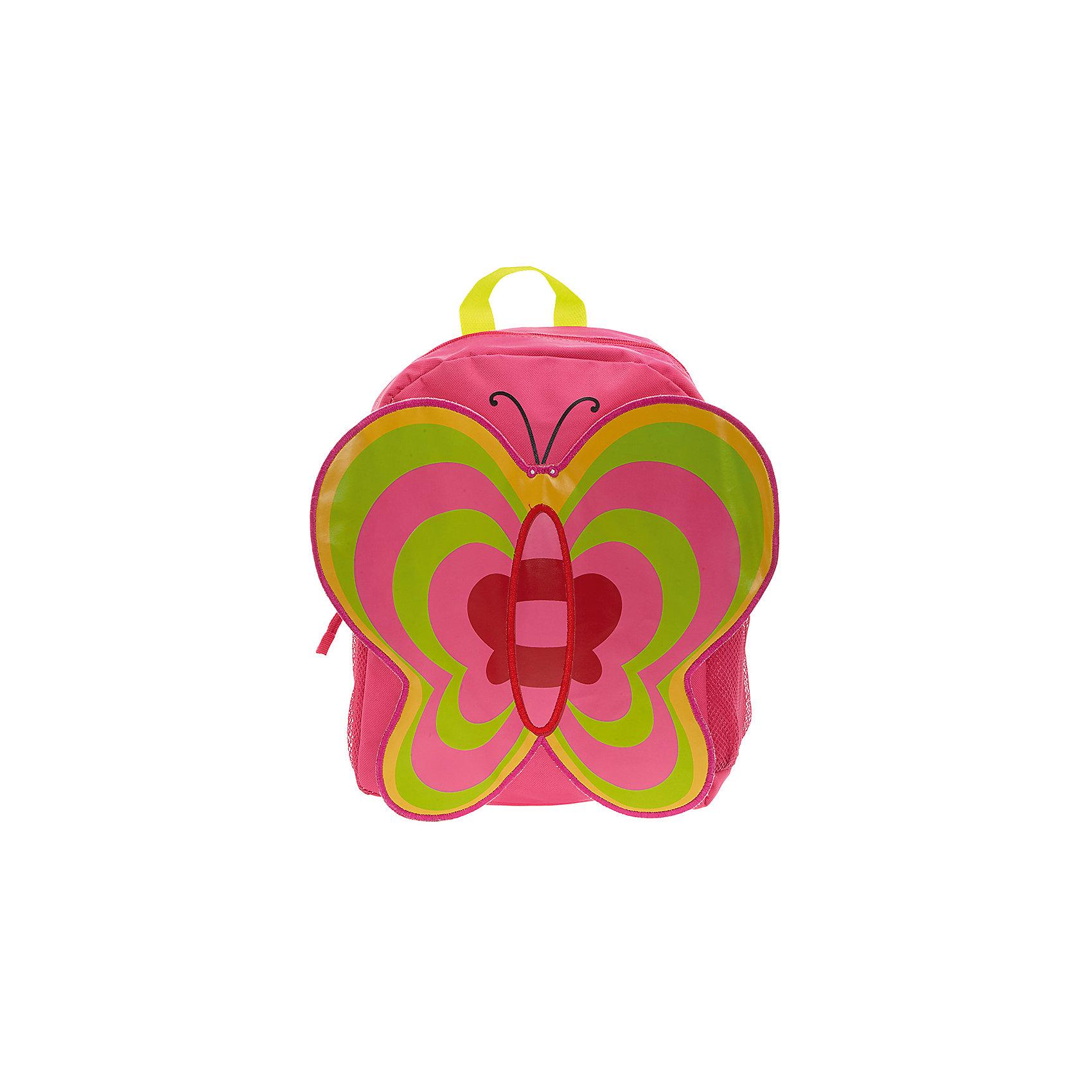 Рюкзак Бабочка, цвет фуксия с зеленымИдеально подходят для хранения важных и необходимых вещей, которые так необходимы маленькой принцессе на детской площадке, во время прогулки или на пикнике. Сделан из прочного, износоустойчивого полиэстера. Просторный внутренний отсек будет очень удобен в использовании. Лицевая  сторона рюкзака выполнена в форме объемной бабочки с большими привлекательными крылышками. Отлично подходит для детей от 2-х до 5-ти лет.<br><br>Ширина мм: 33<br>Глубина мм: 26<br>Высота мм: 12<br>Вес г: 500<br>Возраст от месяцев: 36<br>Возраст до месяцев: 84<br>Пол: Женский<br>Возраст: Детский<br>SKU: 5344315