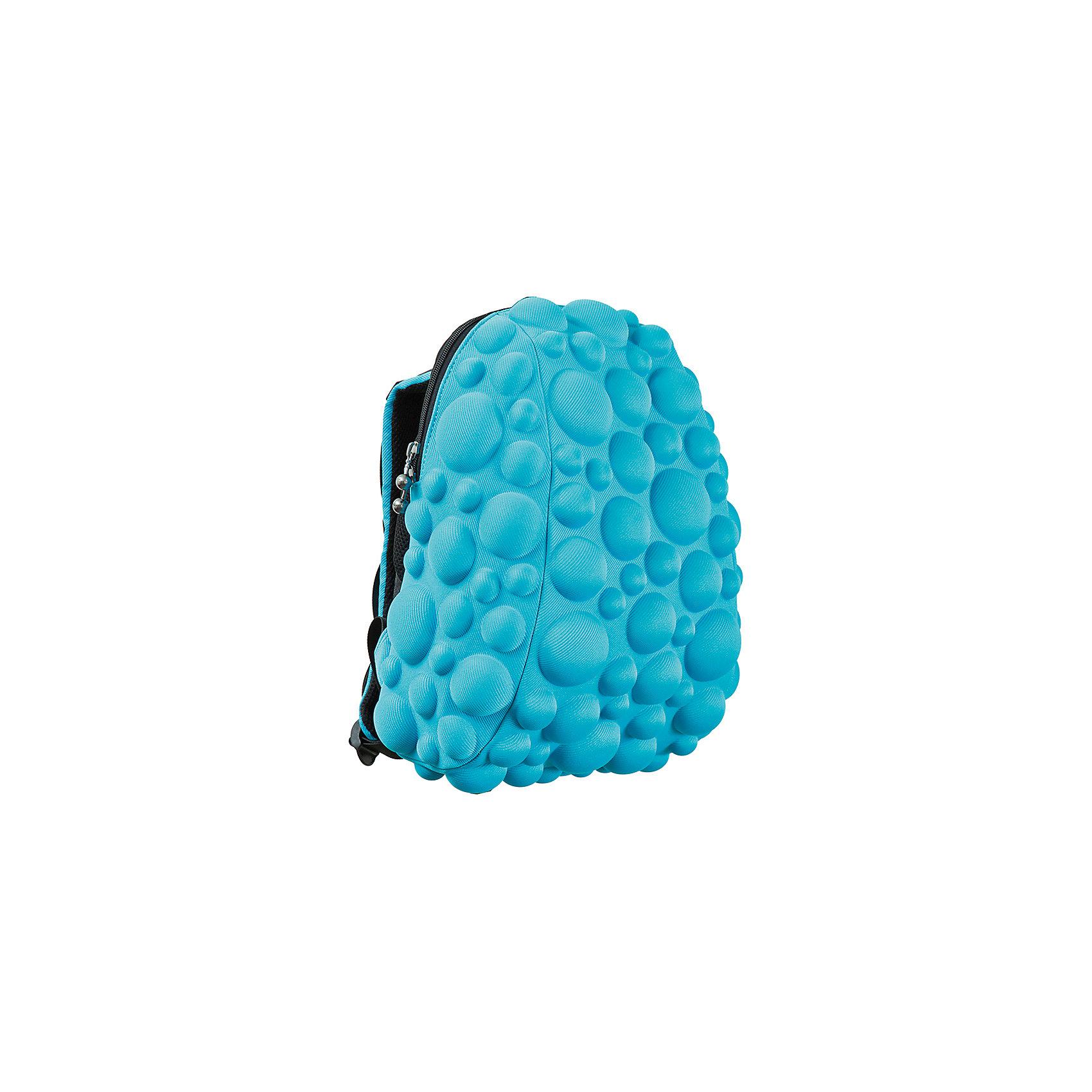 Рюкзак Bubble HalfРюкзаки<br>Легкий и вместительный рюкзак с одним основным отделением с застежкой на молниии. В основное отделение с легкостью входит ноутбук  размером диагонали 13 дюймов, iPad и формат А4. Незаменимый аксессуар как для активного городского жителя, так и для школьников и студентов. Широкие лямки можно регулировать для наиболее удобной посадки, а мягкая ортопедическая спинка делает ношение наиболее удобным и комфортным. Размер 35х30х15 см, цвет голубой, 100% полиспандекс, MadPax, США<br><br>Ширина мм: 35<br>Глубина мм: 30<br>Высота мм: 15<br>Вес г: 600<br>Возраст от месяцев: 84<br>Возраст до месяцев: 420<br>Пол: Унисекс<br>Возраст: Детский<br>SKU: 5344324