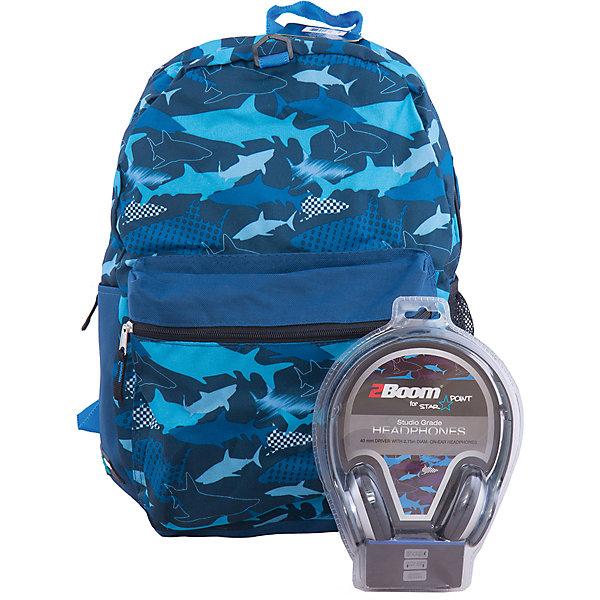 Рюкзак Sharks с наушниками, цвет синийРюкзаки<br>Универсальный рюкзак — для школы, спорта или просто для прогулки.<br>Мягкие регулируемые наплечные лямки.<br>Укрепленная спинка.<br>Ширина мм: 43; Глубина мм: 33; Высота мм: 16; Вес г: 700; Возраст от месяцев: 120; Возраст до месяцев: 420; Пол: Унисекс; Возраст: Детский; SKU: 5344339;